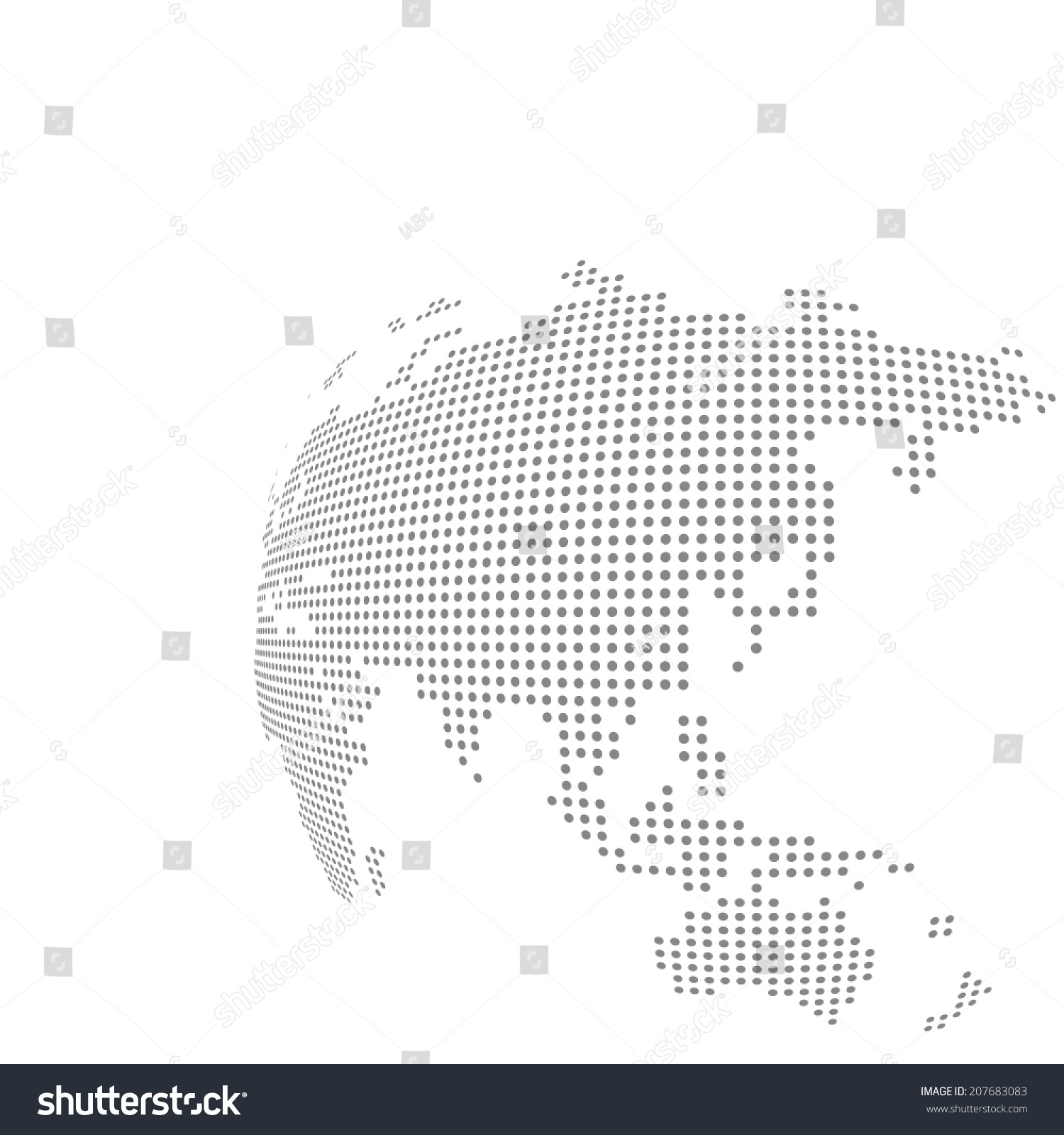 Dotted Vector Globe Map Stock Vector (Royalty Free) 207683083 ...