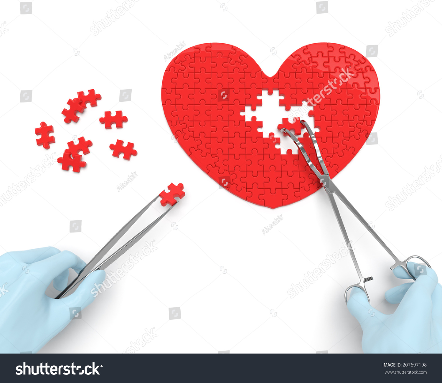 Heart Puzzle Hands Cardiac Surgeon Surgical Stock Illustration 207697198