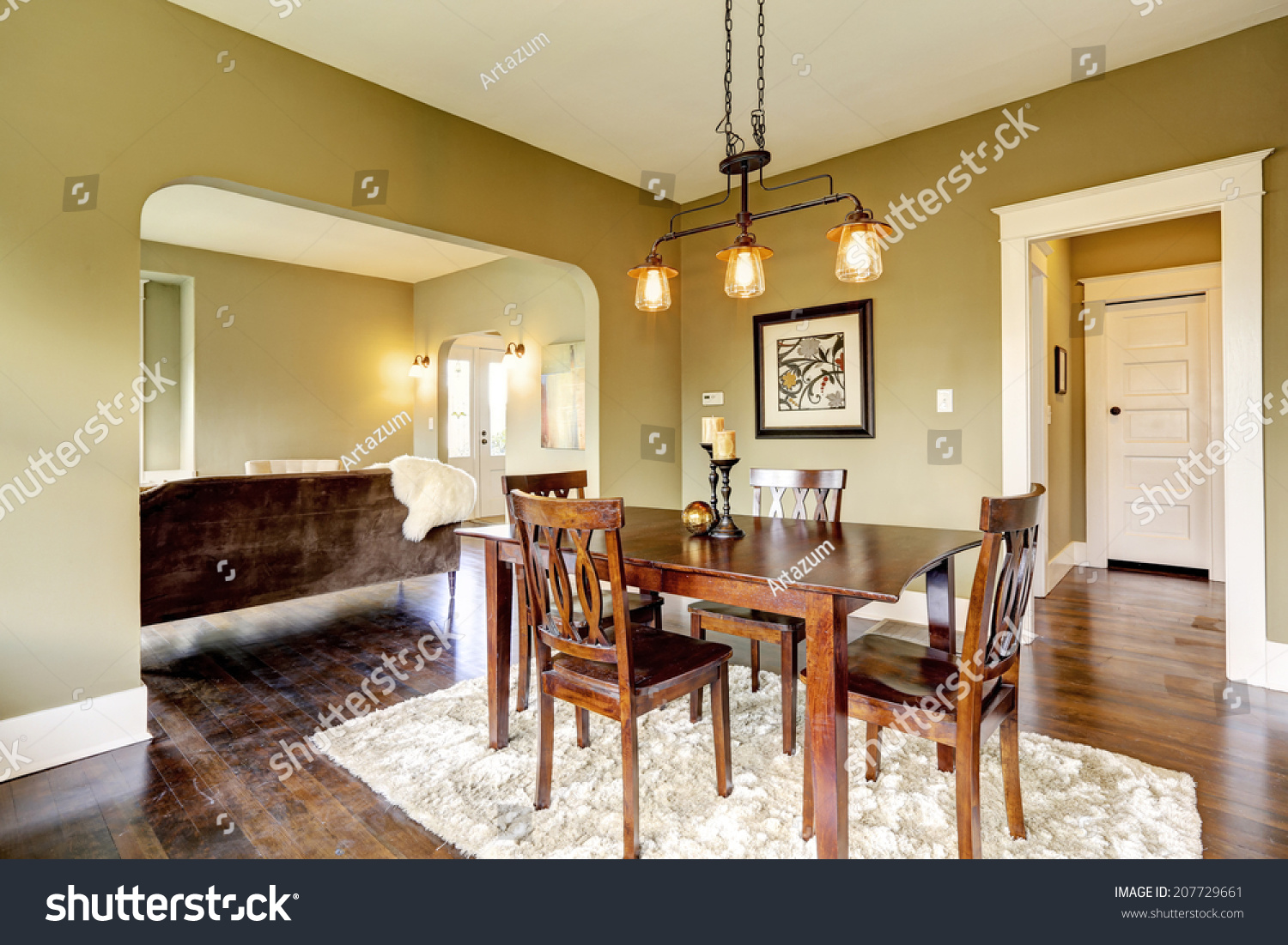 Open floor plan dining area dark stock photo 207729661 for Hardwood floor plans