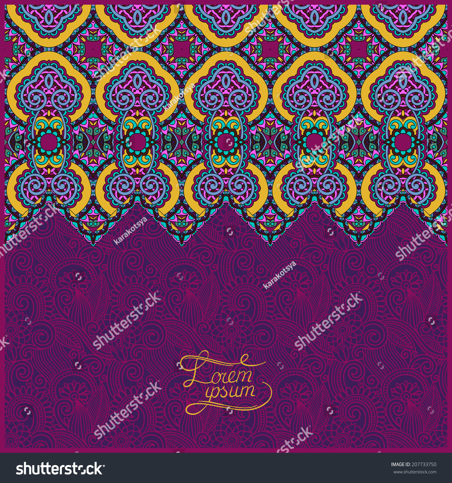 Fabric Book Cover Template : Moroccan template place your text you stock vector