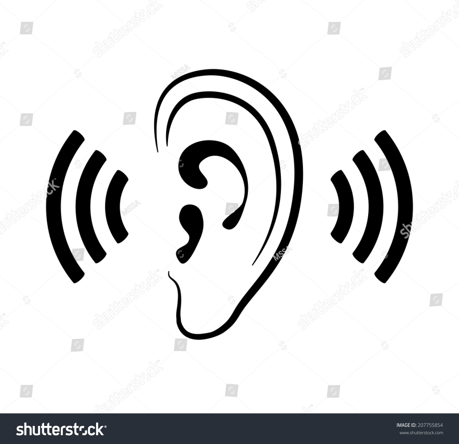 Sound Waves Clipart Vector ear icon, silhouette of ear and sound waves ...