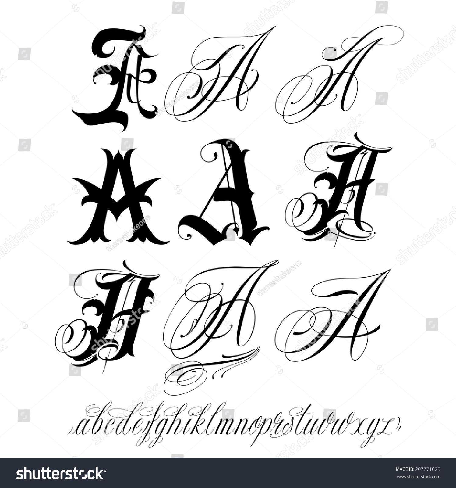 Handmade vector calligraphy tattoo alphabet stock