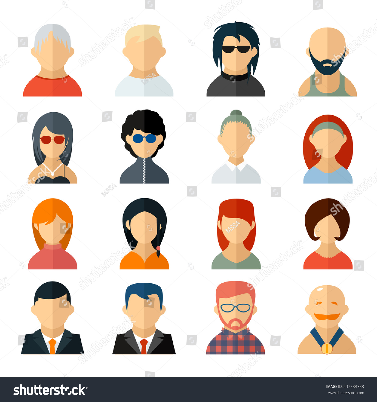 Royalty Free Set Of User Avatar Icons In Flat Style