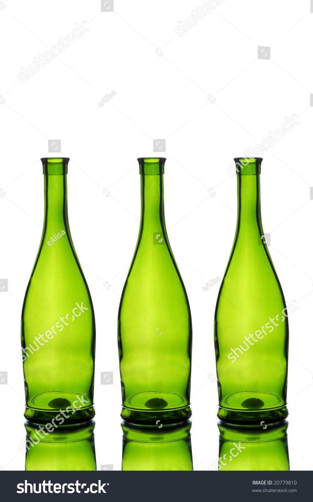 Three green wine bottles isolated on white stock photo for Green wine bottles