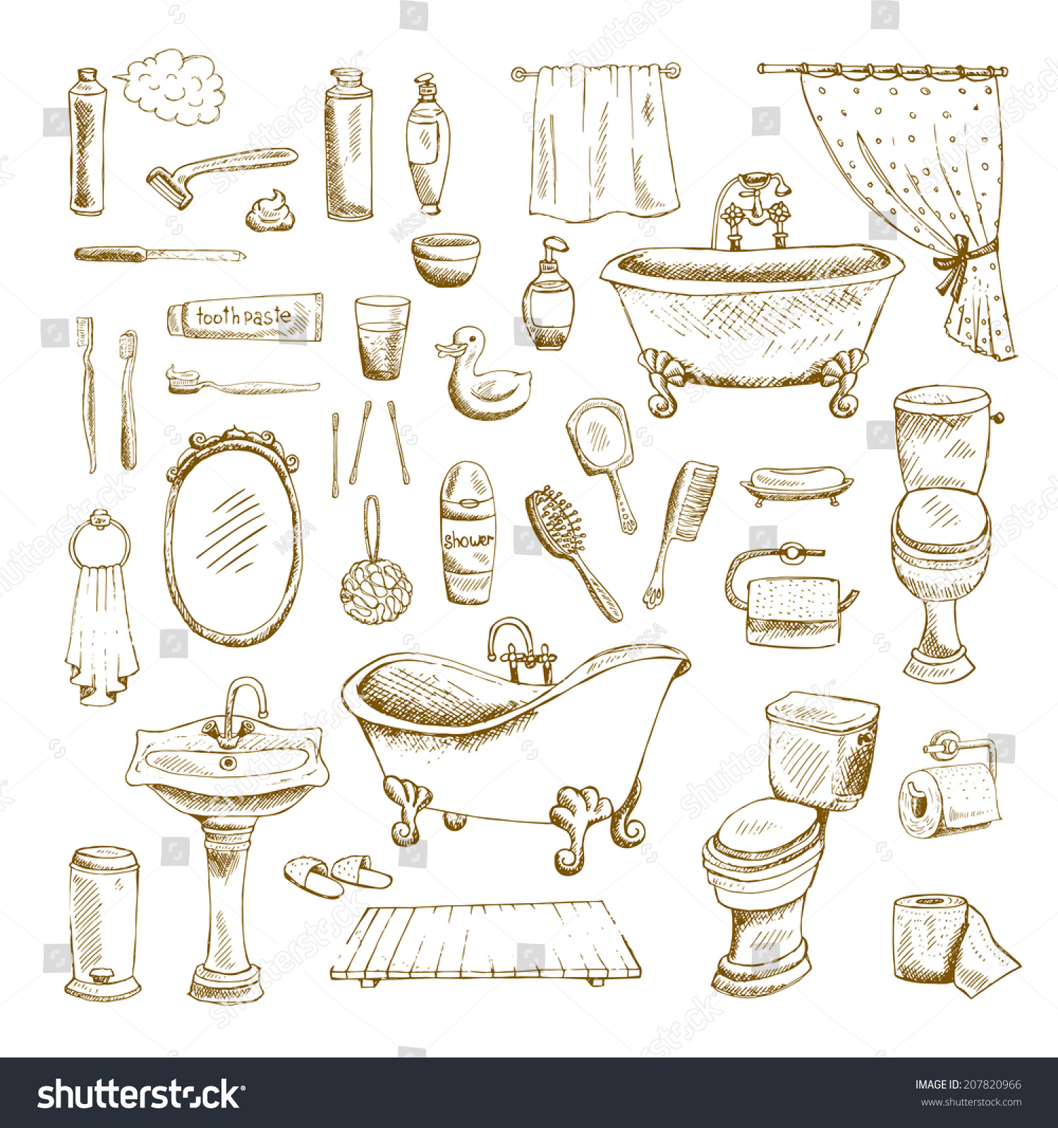 Hand Drawn Bathroom Interior Elements Toilet Stock Vector