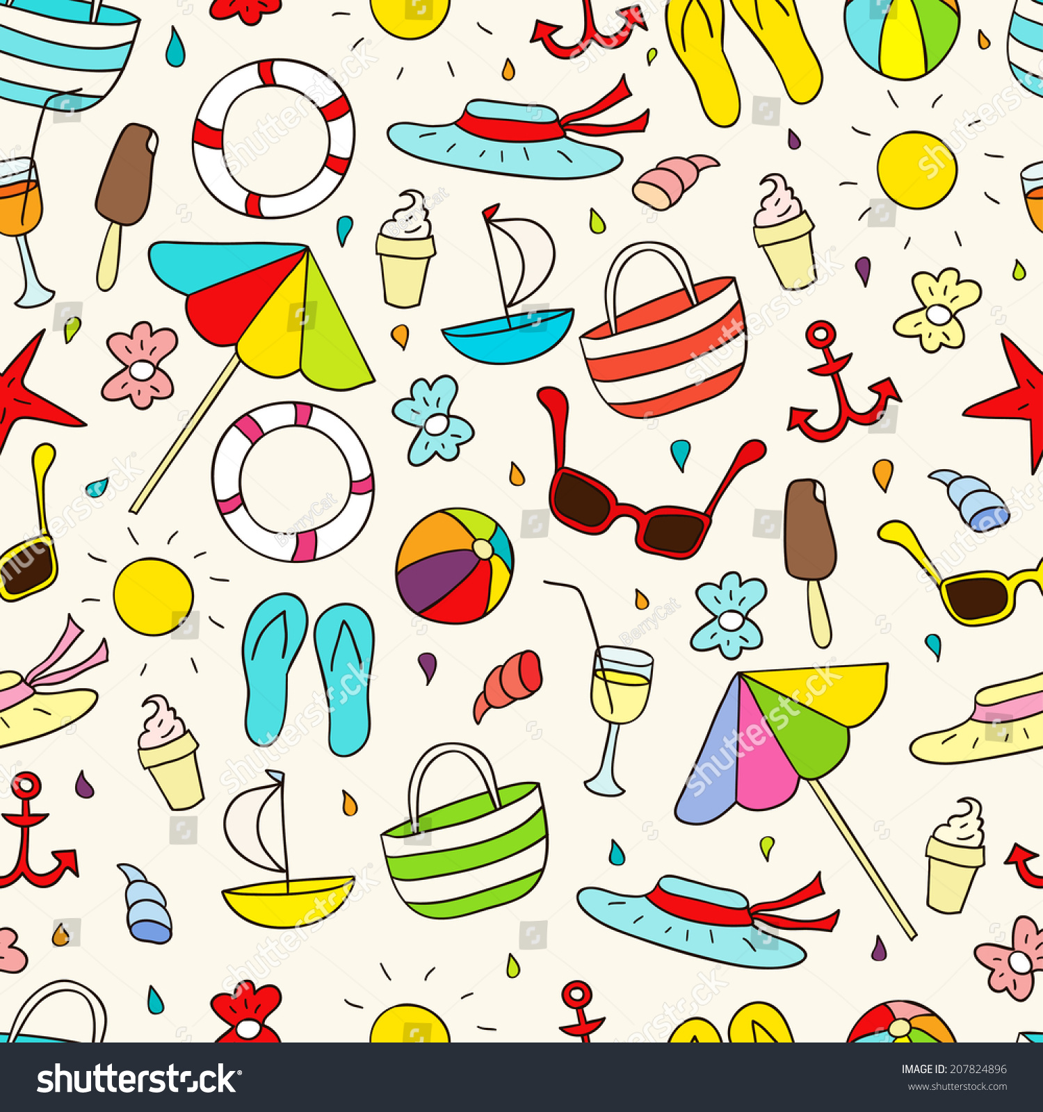 Scrapbook paper beach - Beach Elements Ideal For Scrapbooking Wrapping Paper Children S Textiles