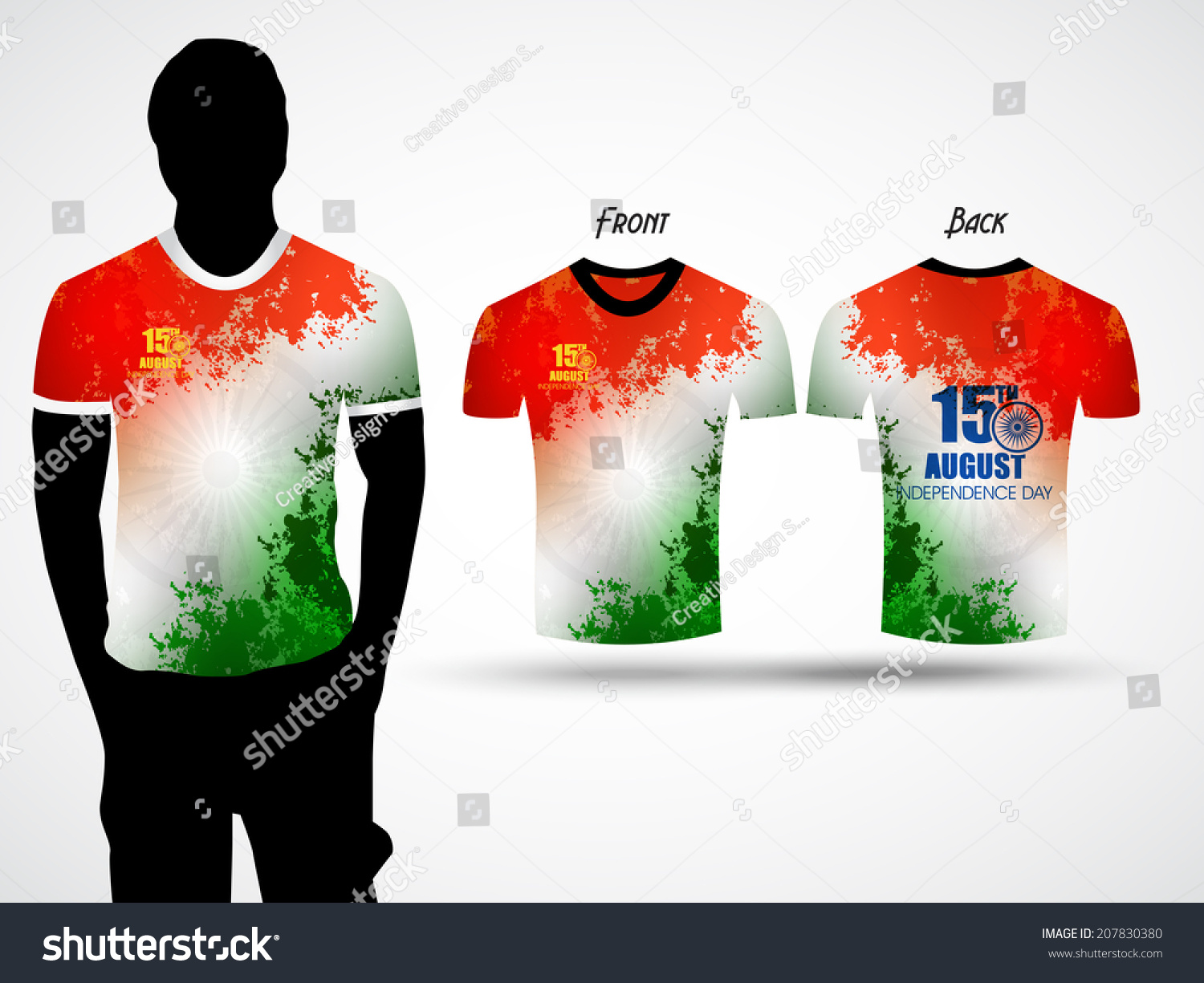 Tshirt Design Happy Independence Day India Stock Vector