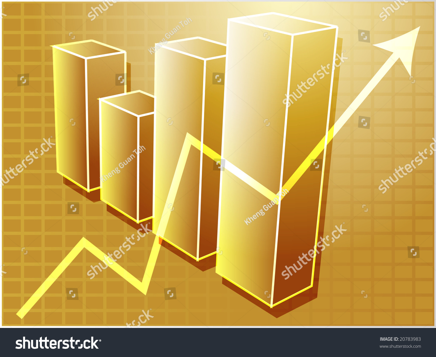 Threed bar chart upwards line graph stock illustration 20783983 three d bar chart and upwards line graph financial diagram illustration over square grid ccuart Choice Image