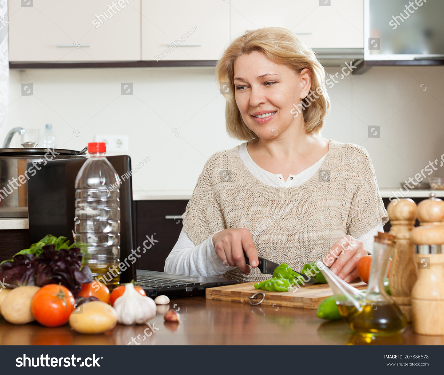Woman Cooking Notebook Home Kitchen Stock Photo (Royalty Free ...