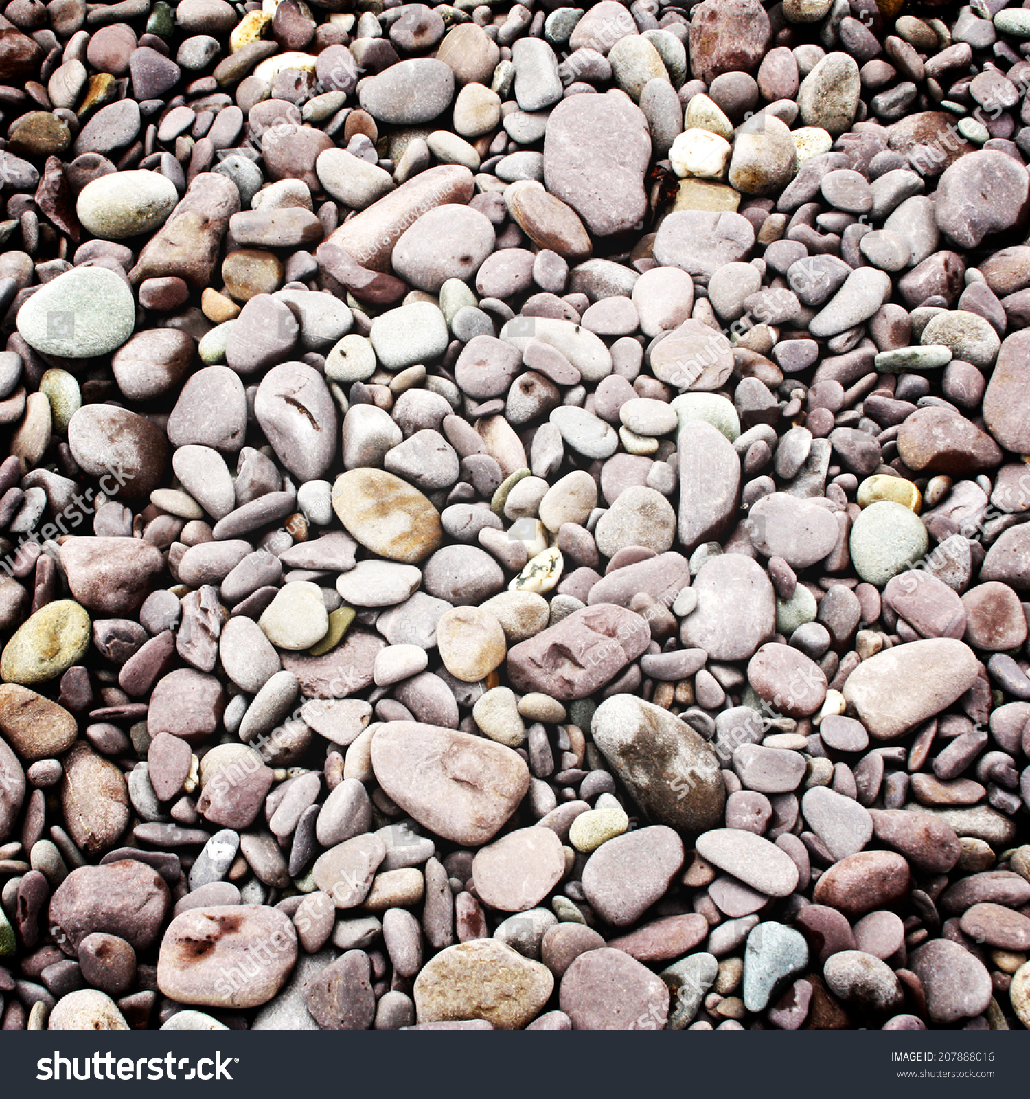 Smooth shaped white stones surface texture background stock photo - Pebbles Background Instagram Filter Small Stones On The Beach Retro Effect Photo