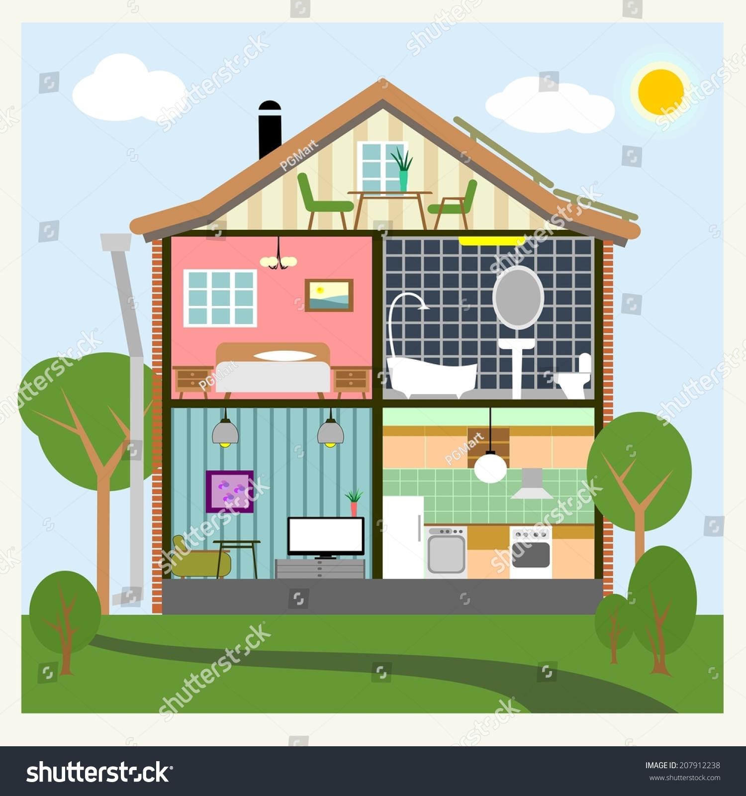 Vector Background House Interiors Living Kitchen Stock Vector 207912238 Shutterstock
