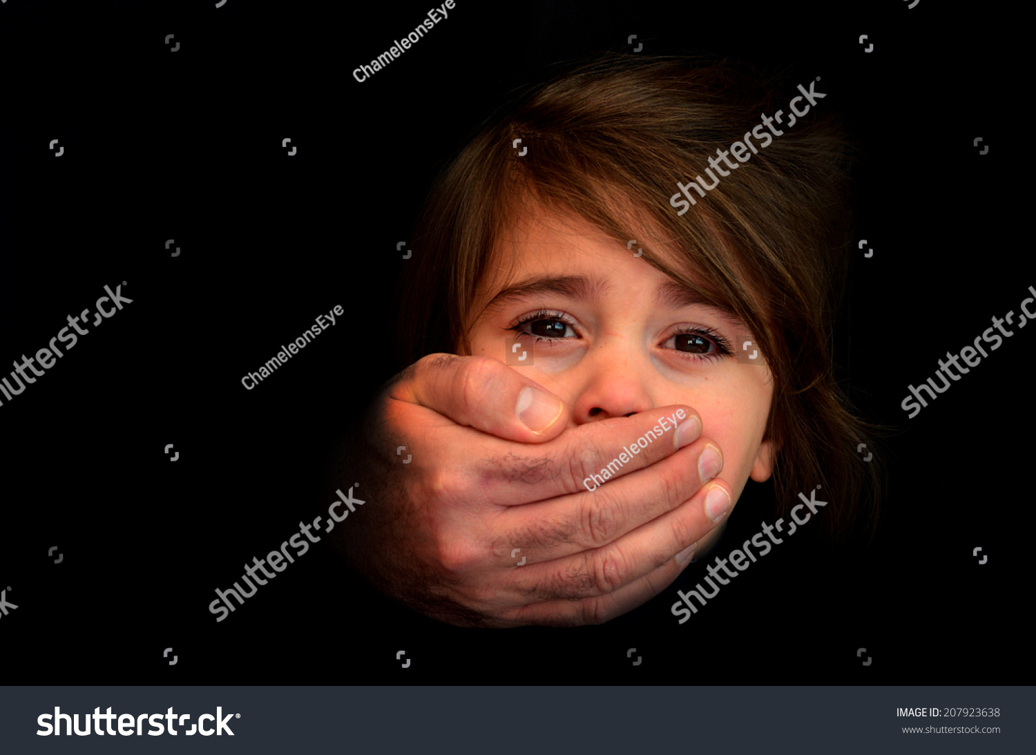 littlegirl tied up Strong male hands cover little girl face with emotional stress, pain, afraid, call