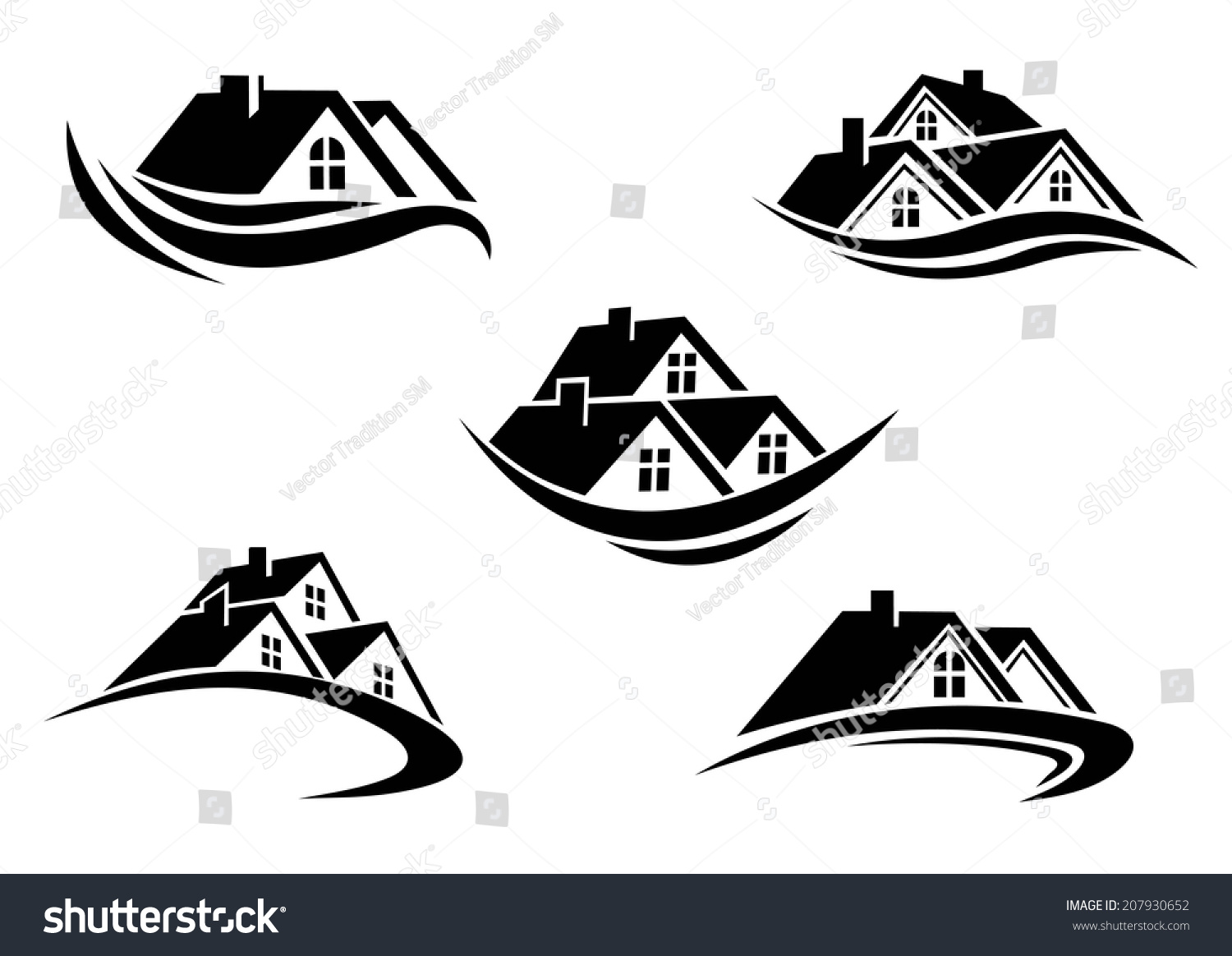 Black and white roof of houses with swoosh is the symbol for Clipart estate