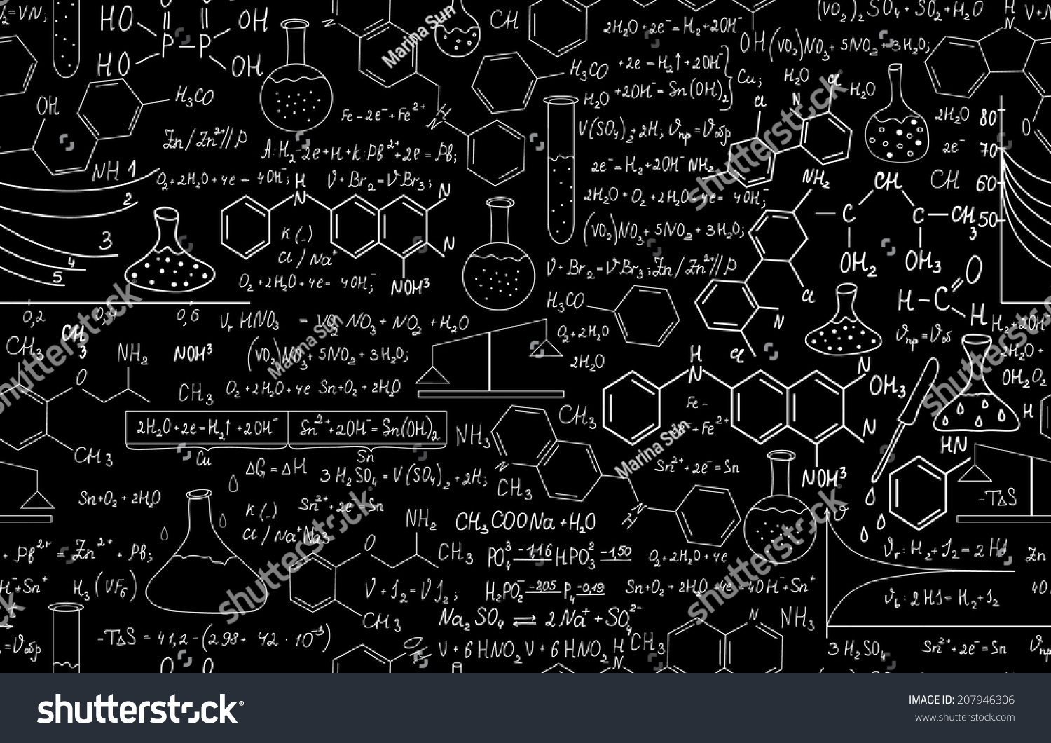 ... vector seamless pattern with plots, formulas and laboratory equipment Medical Laboratory Logo Design