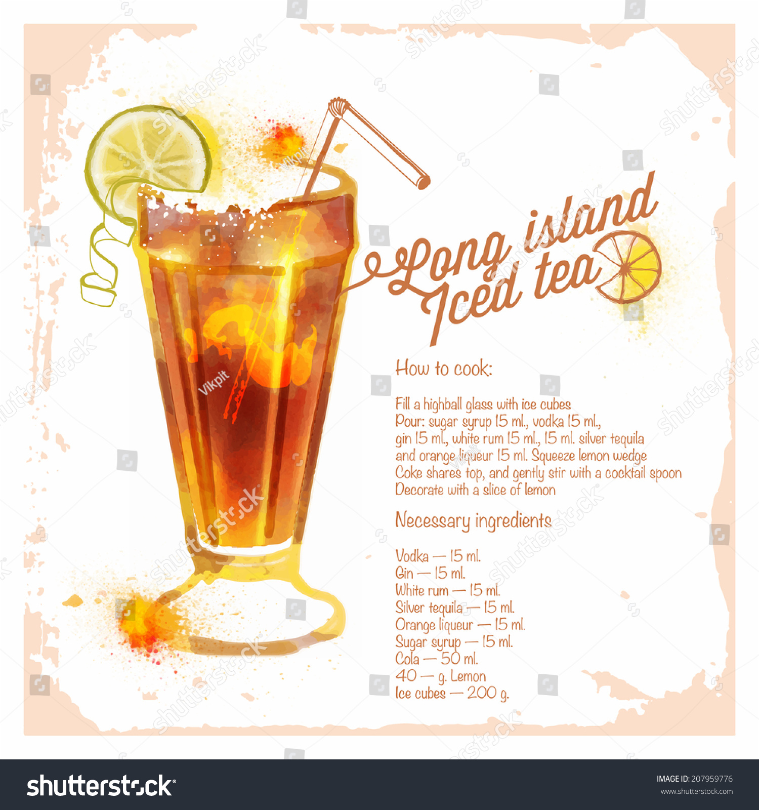 Cocktails long island iced tea menu stock vector 207959776 for Iced tea cocktail recipes