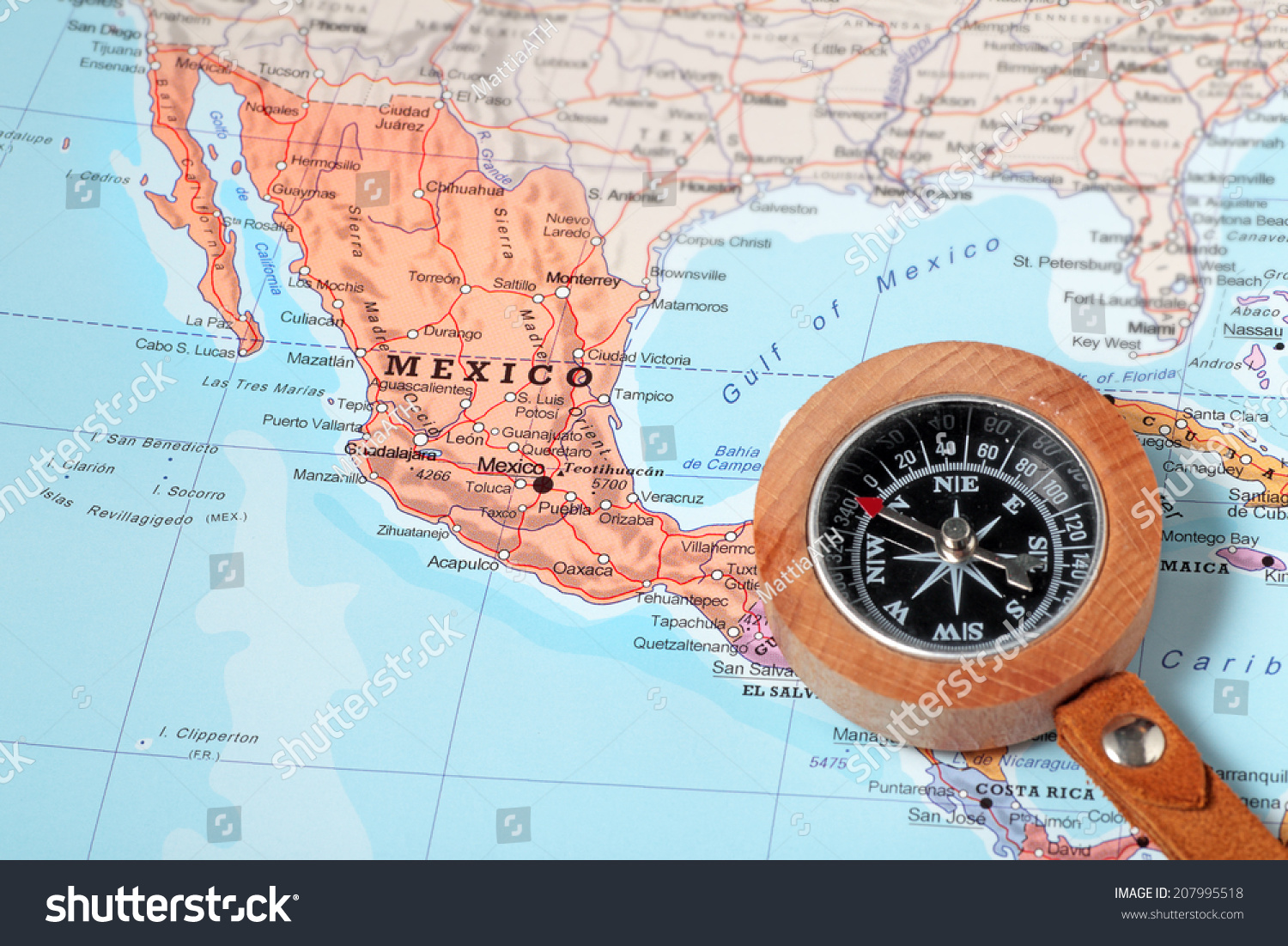 Compass On Map Pointing Mexico Planning Photo 207995518 – Mexico Travel Destinations Map