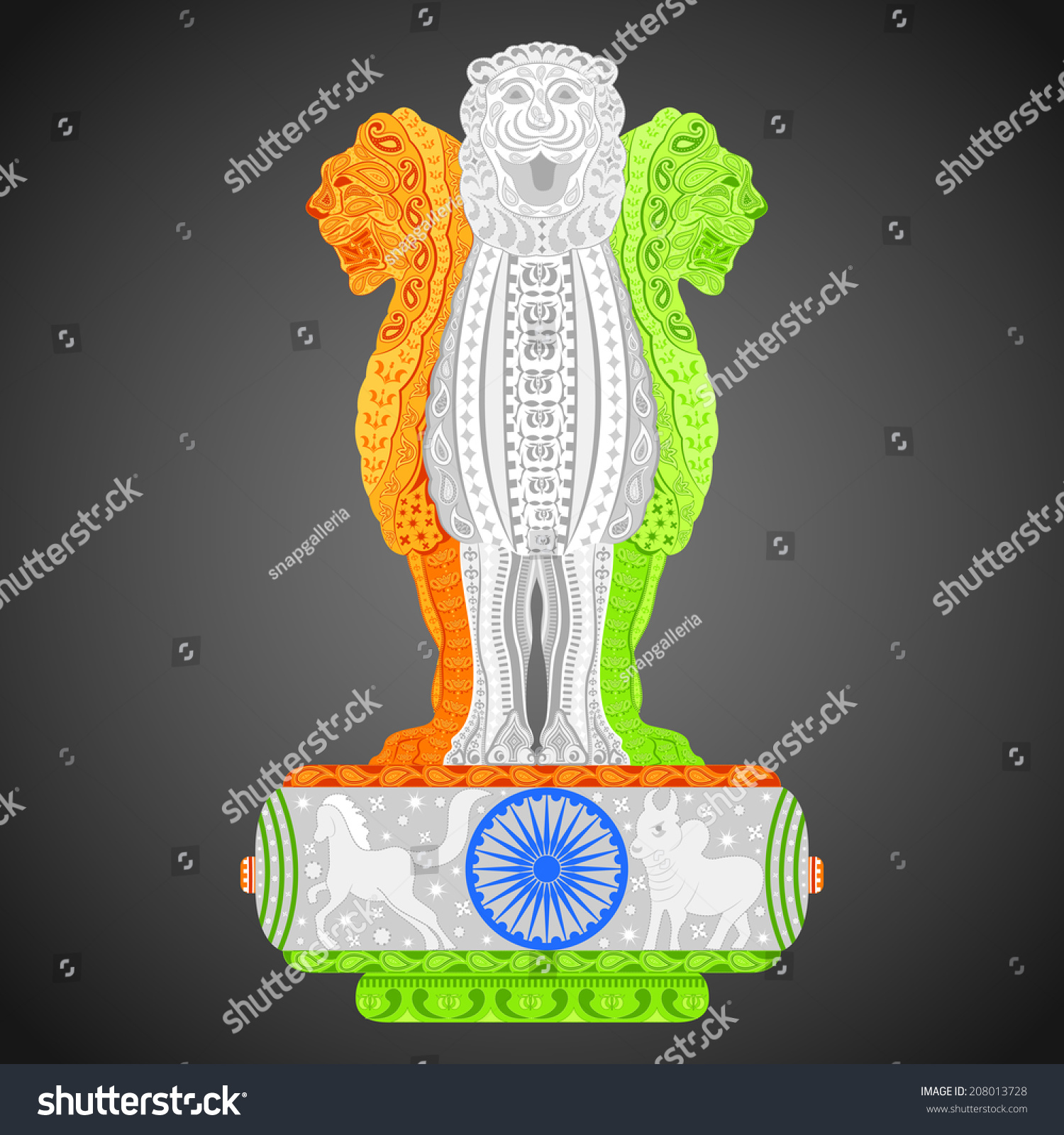 Colors website ashoka - Easy To Edit Vector Illustration Of Pillars Of Ashoka In Indian Flag Color