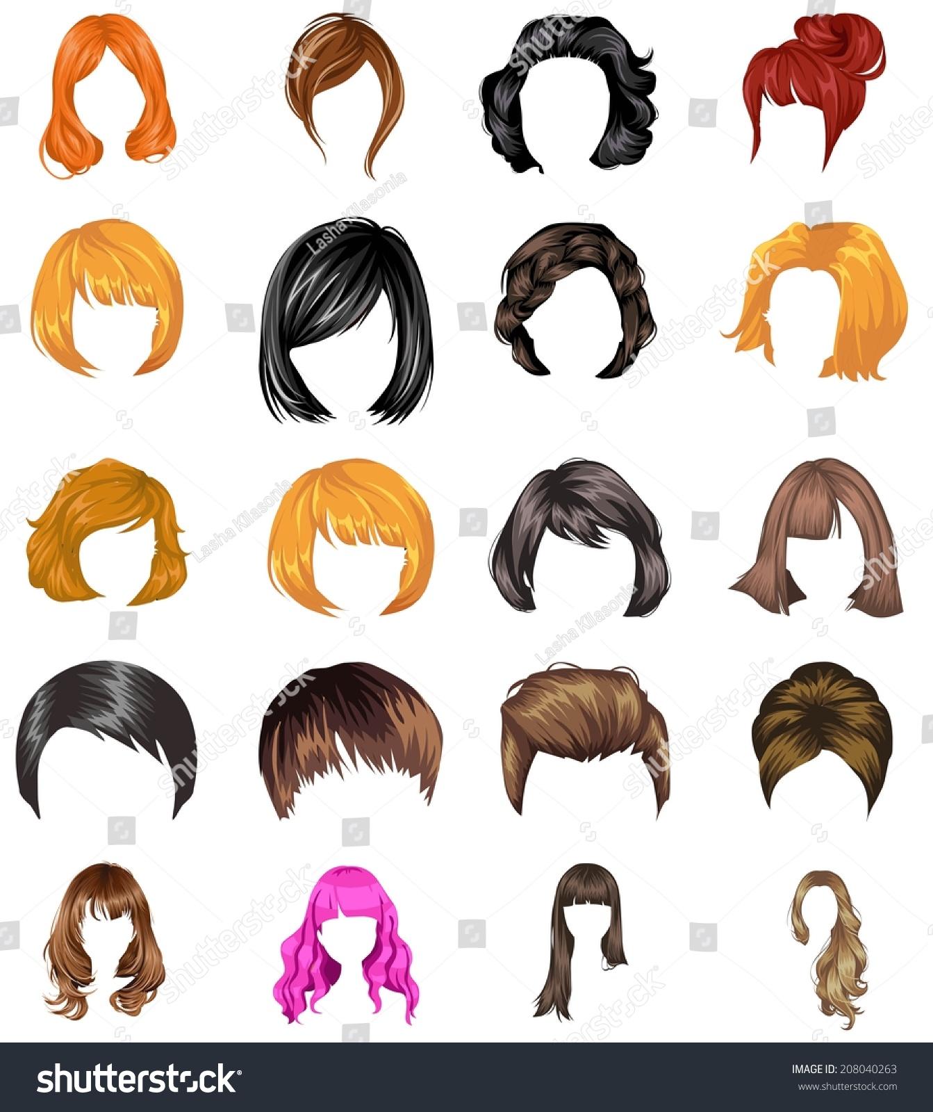 Vector Hairstyles: Hair Styles Collection Vector Stock Vector 208040263