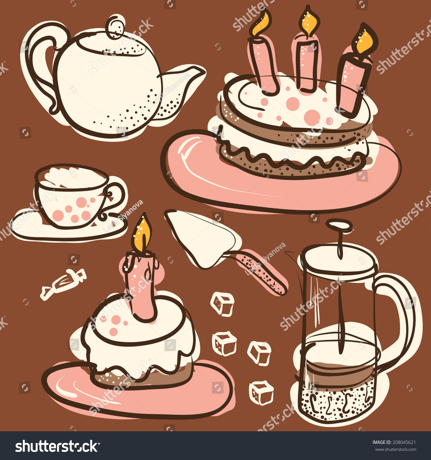 Coffee Sweets Doodles Collection Birthday Cakeholiday Background