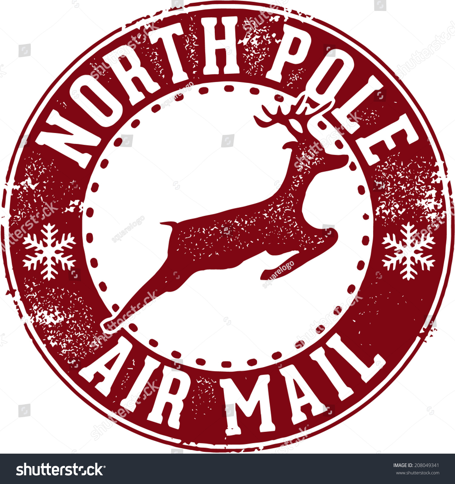 North Pole Air Mail Christmas Santa Stamp Stock Vector Illustration ...