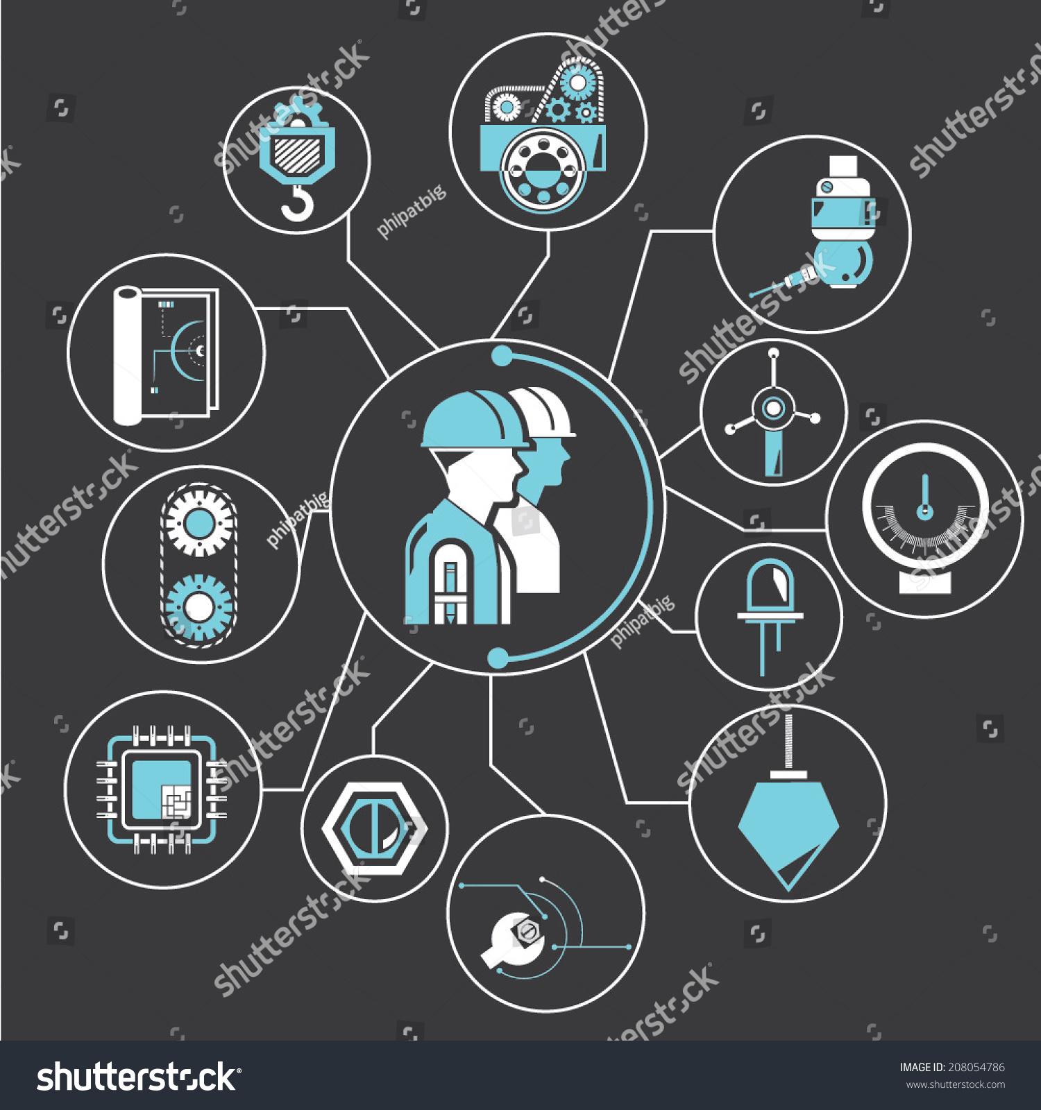 Industrial Engineering Concept Info Graphic Black Stock Vector ...
