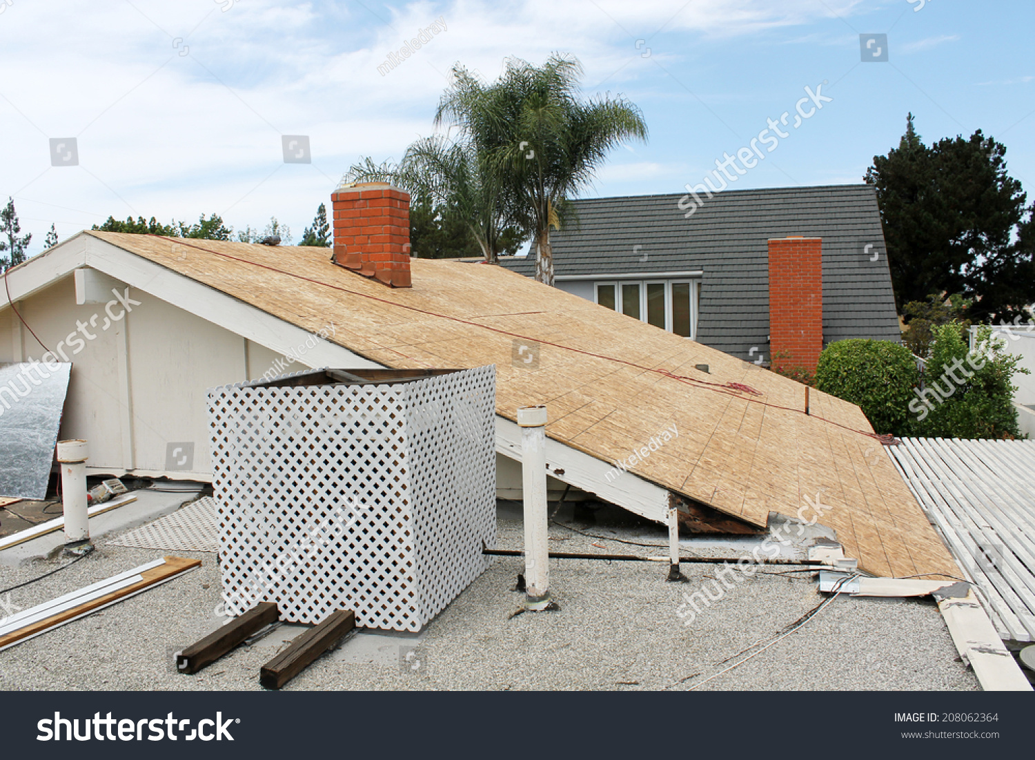 Home roof construction site removal of old roof and for Home roofing options