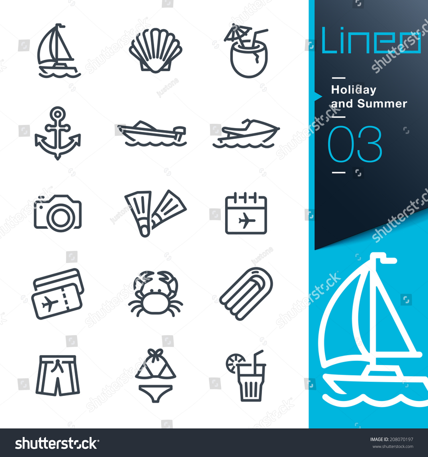 Lineo Holiday and Summer outline icons