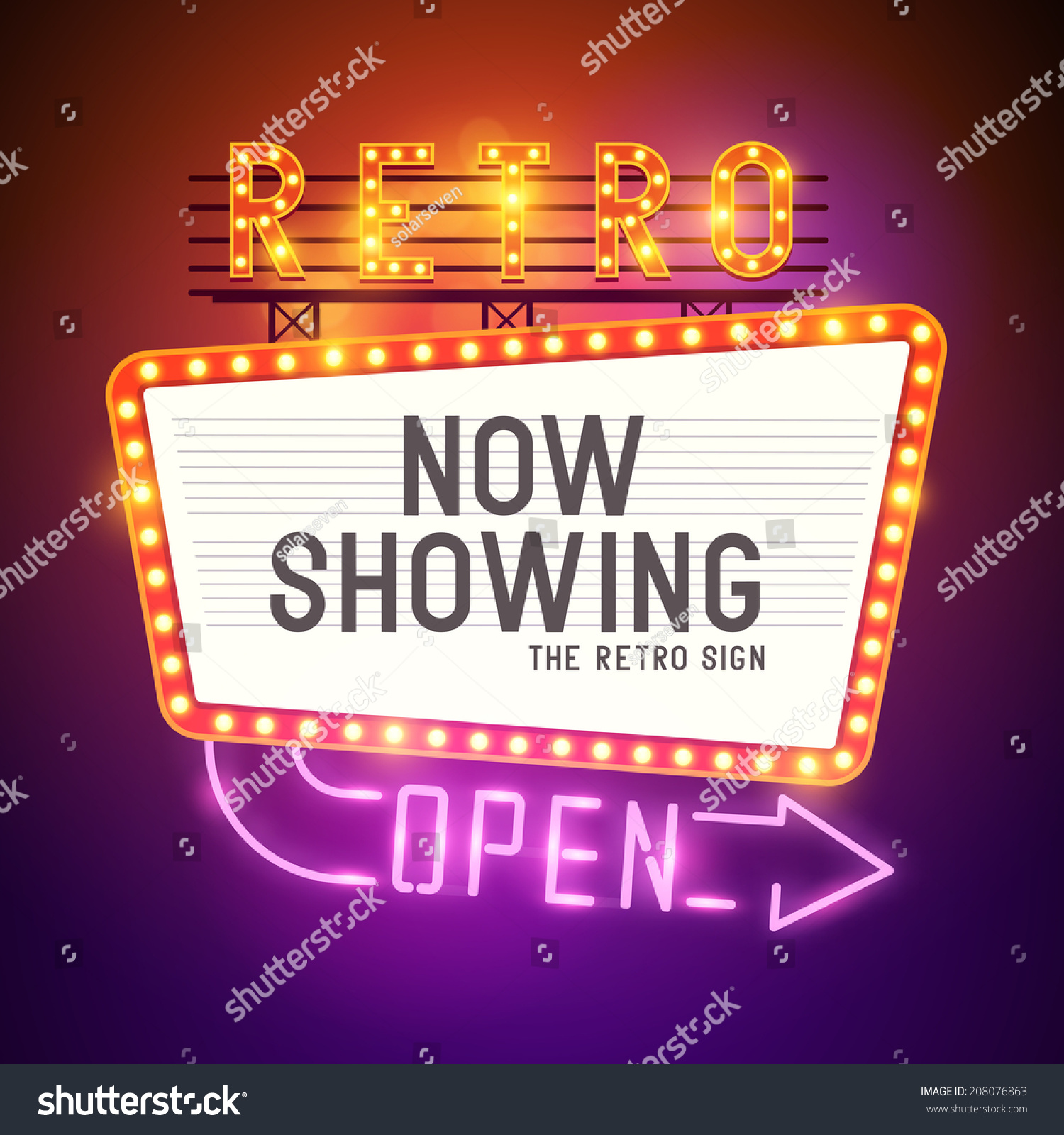 retro showtime sign theatre cinema sign with a glamorous