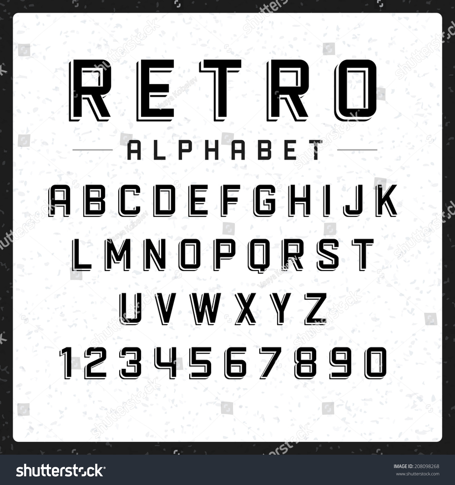 Retro alphabet font type letters and numbers vector for Blueprint number