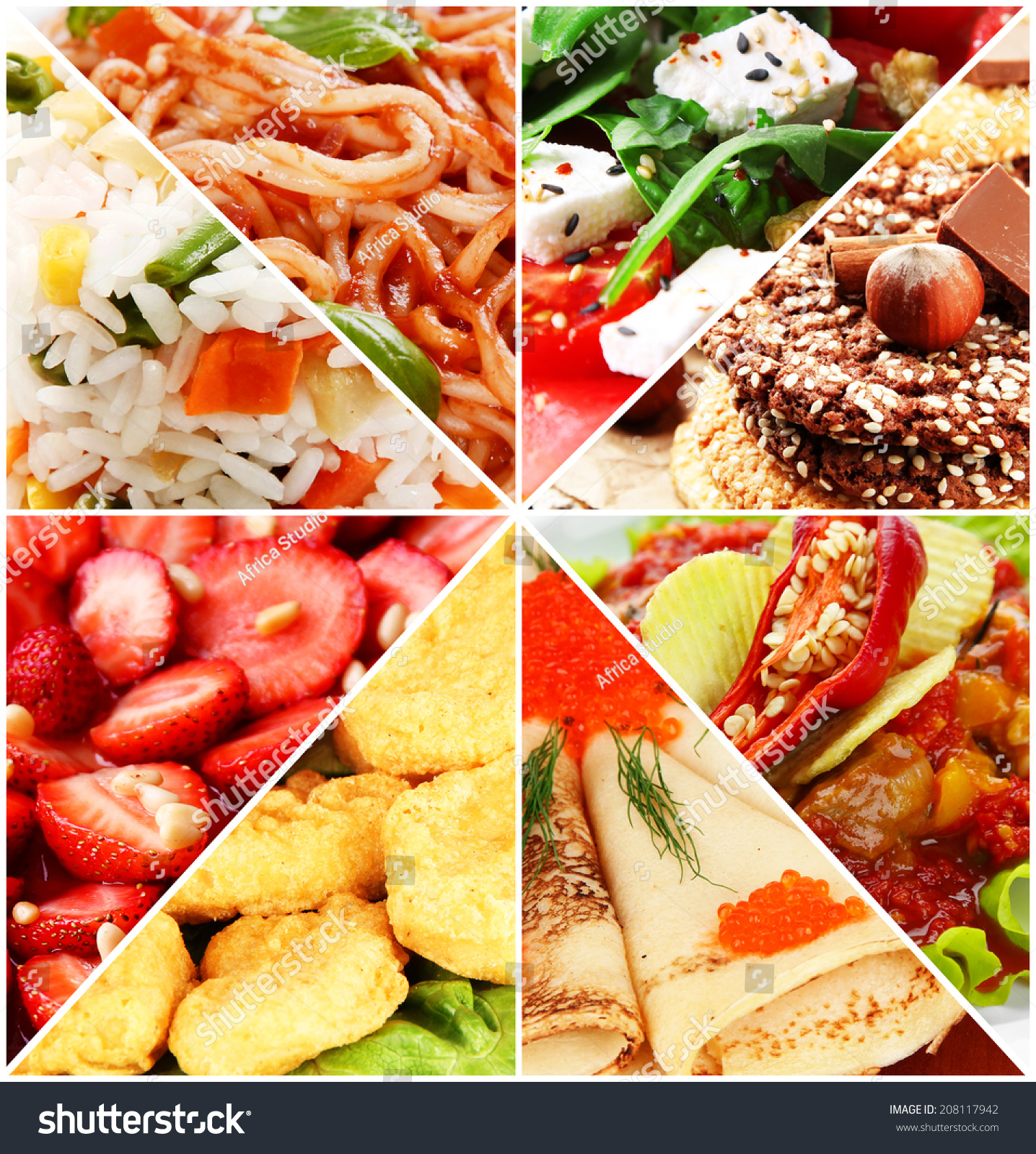 Collage Of Delicious Food Close-Up Stock Photo 208117942 ...