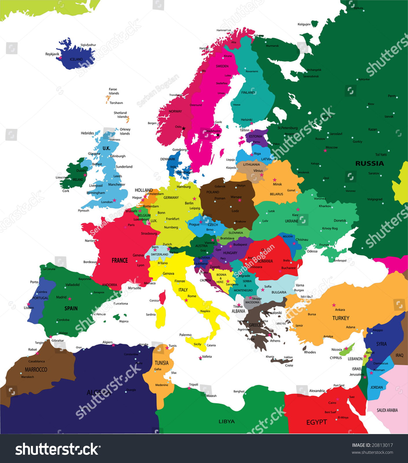 Political Map Europe Major Cities Illustration 20813017 – Travel Map Of Europe With Cities