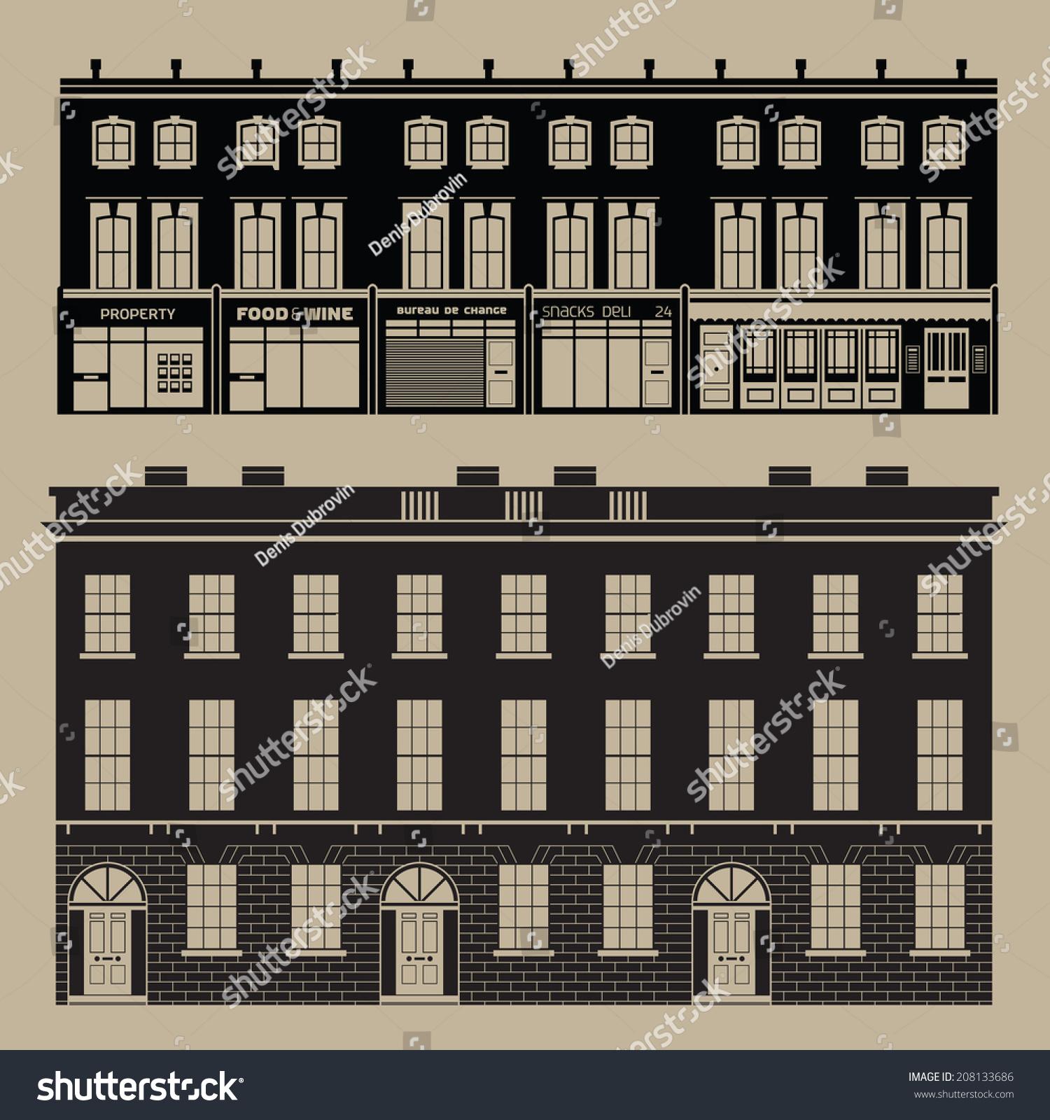 Buildings set english terrace houses monochrome stock for English terrace
