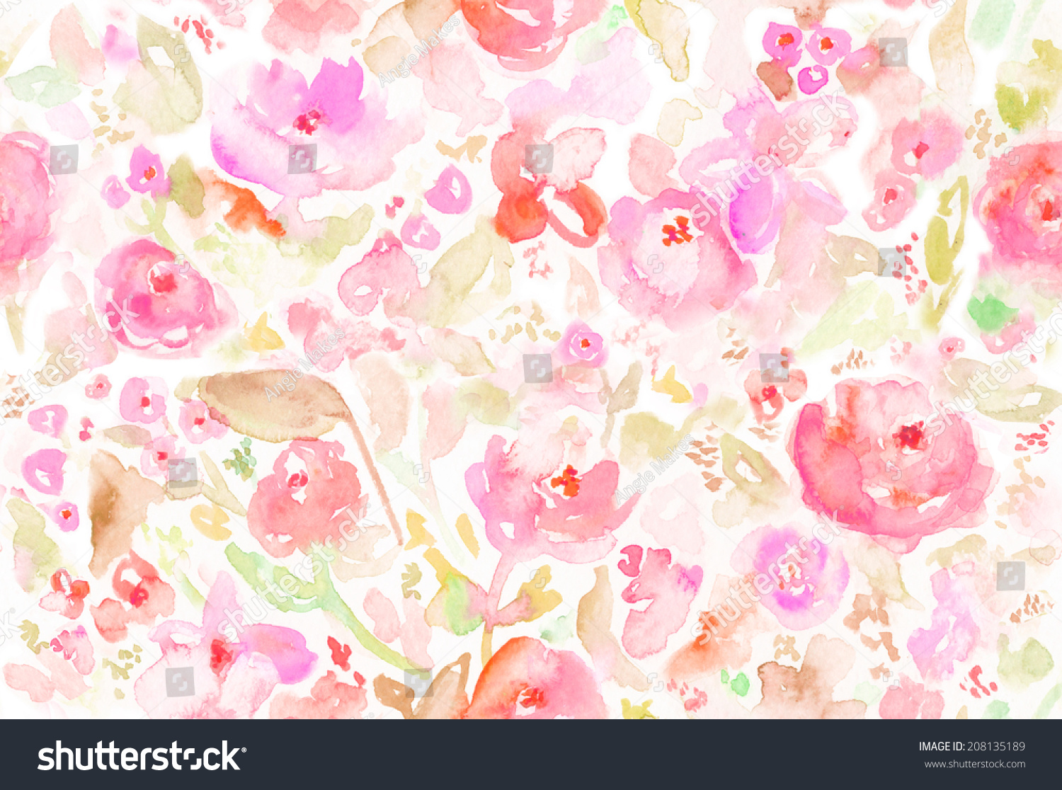 Seamless Abstract Modern Watercolor Floral Background Stock