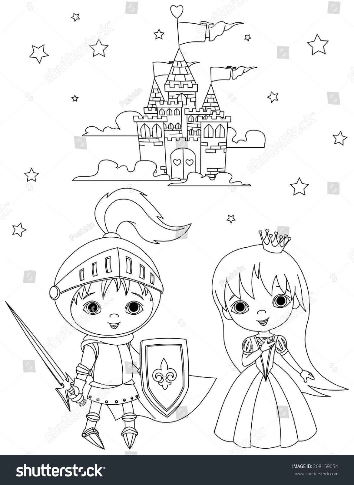 Coloring Page Young Knight Cute Princess Stock Illustration ...