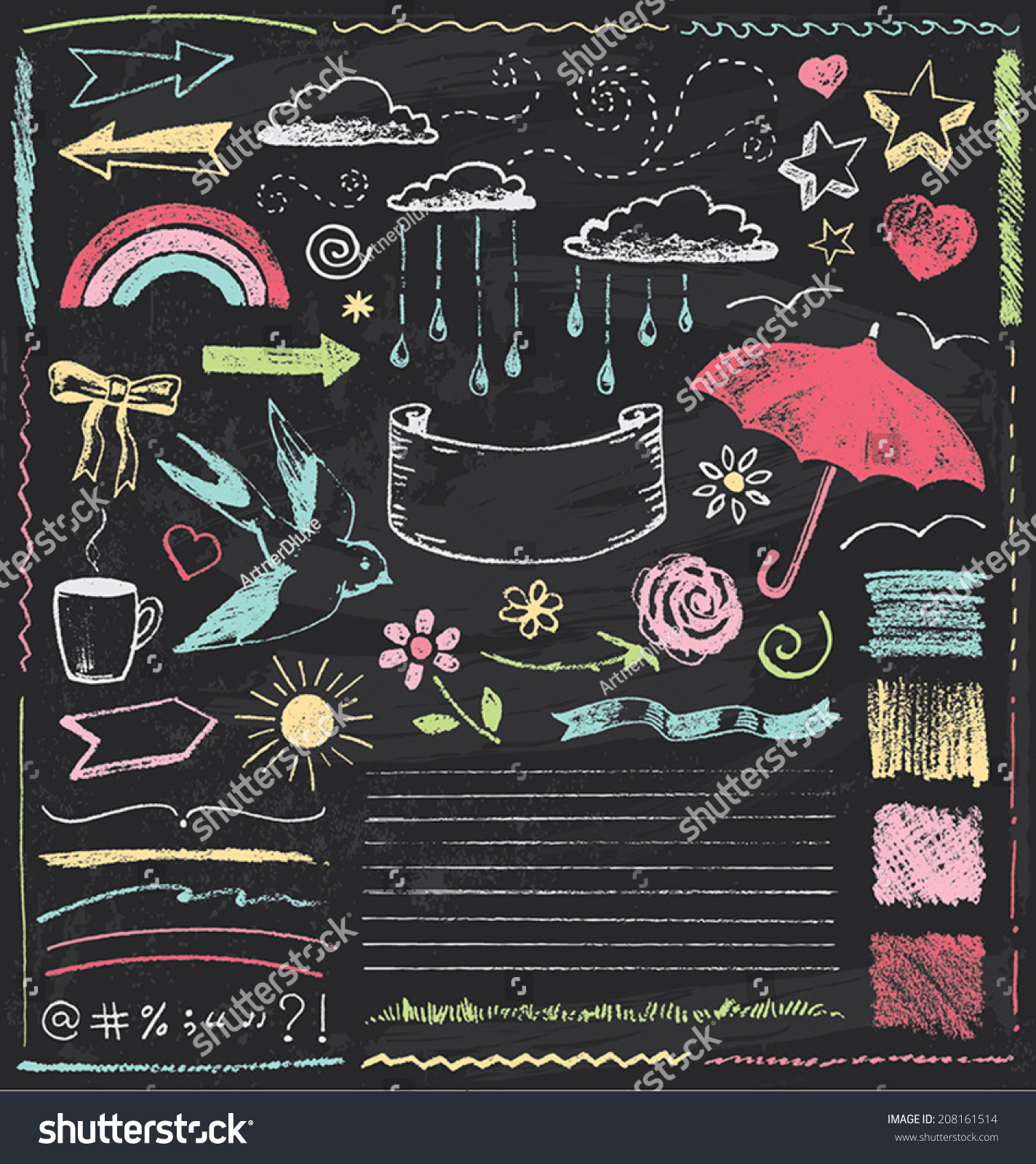 vintage chalkboard design elements hand drawn stock vector royalty