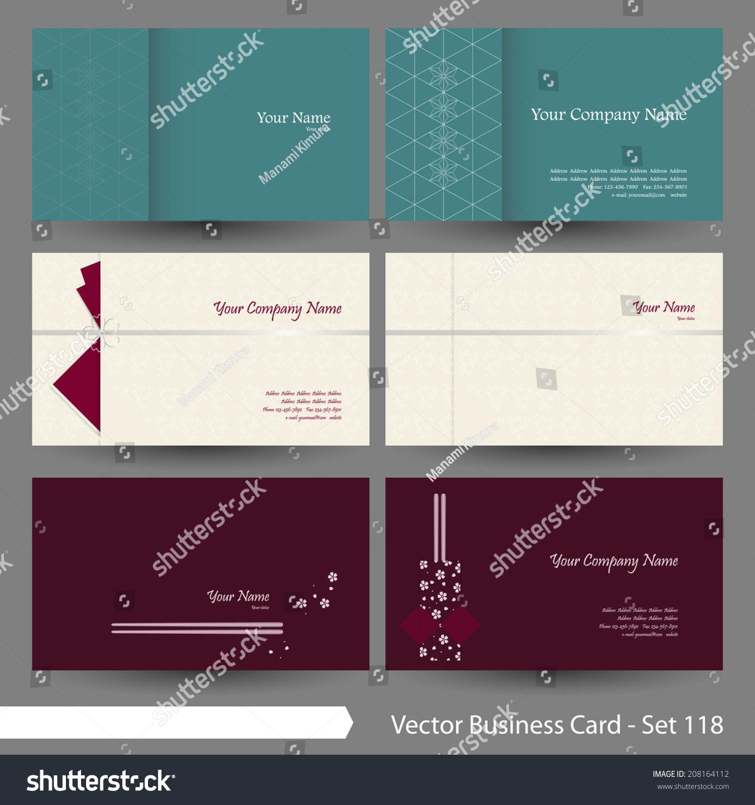 Vector Business Card Template Set Japanese Stock Vector 208164112 ...