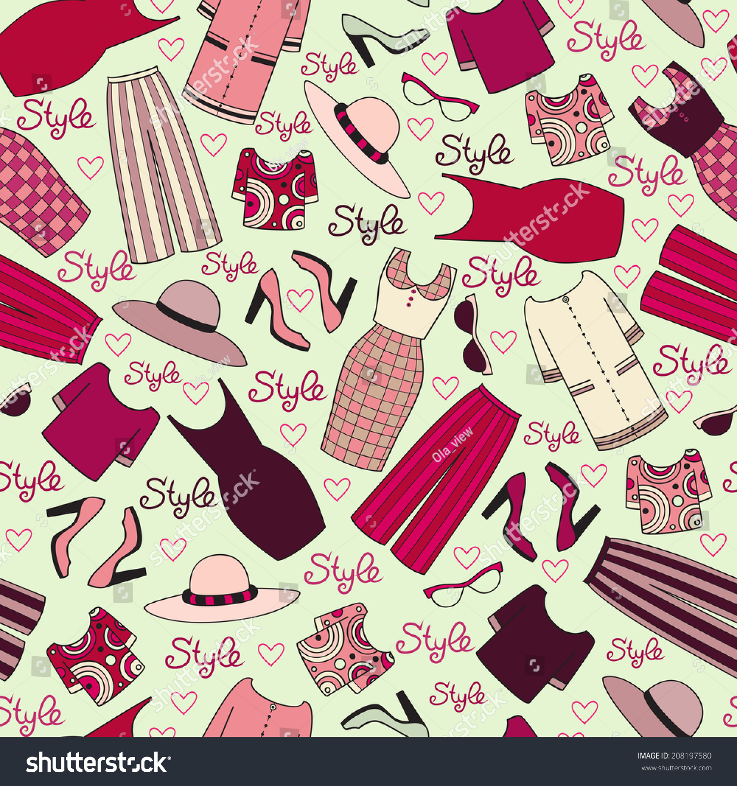 Vector Seamless Pattern Womens Clothing Background Stock Vector Royalty Free 208197580