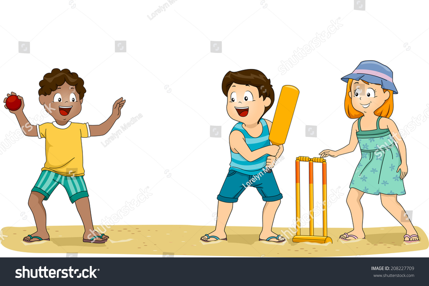 Illustration Group Kids Playing Cricket Beach Stock Vector ...