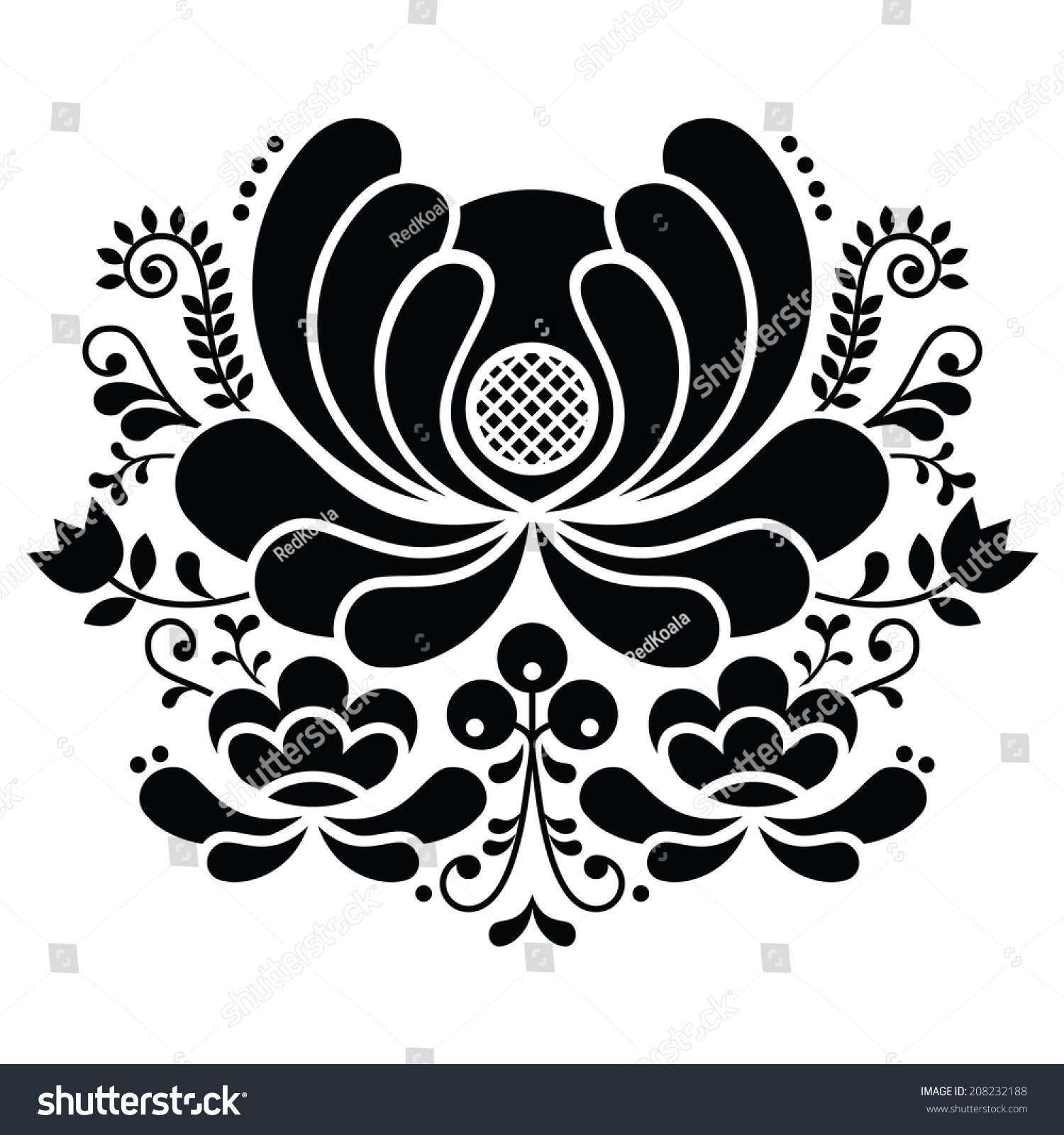 Norwegian folk art black and white pattern rosemaling