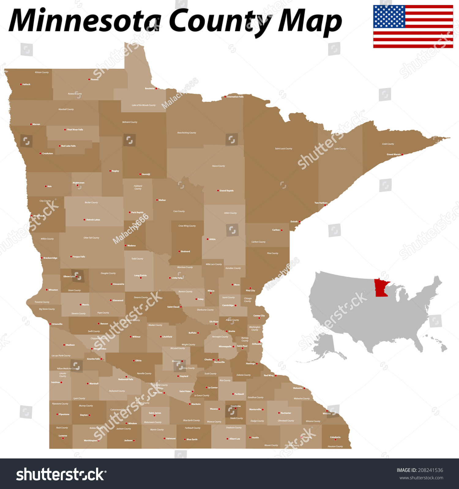 Large Detailed Map State Minnesota All Stock Vector Royalty Free