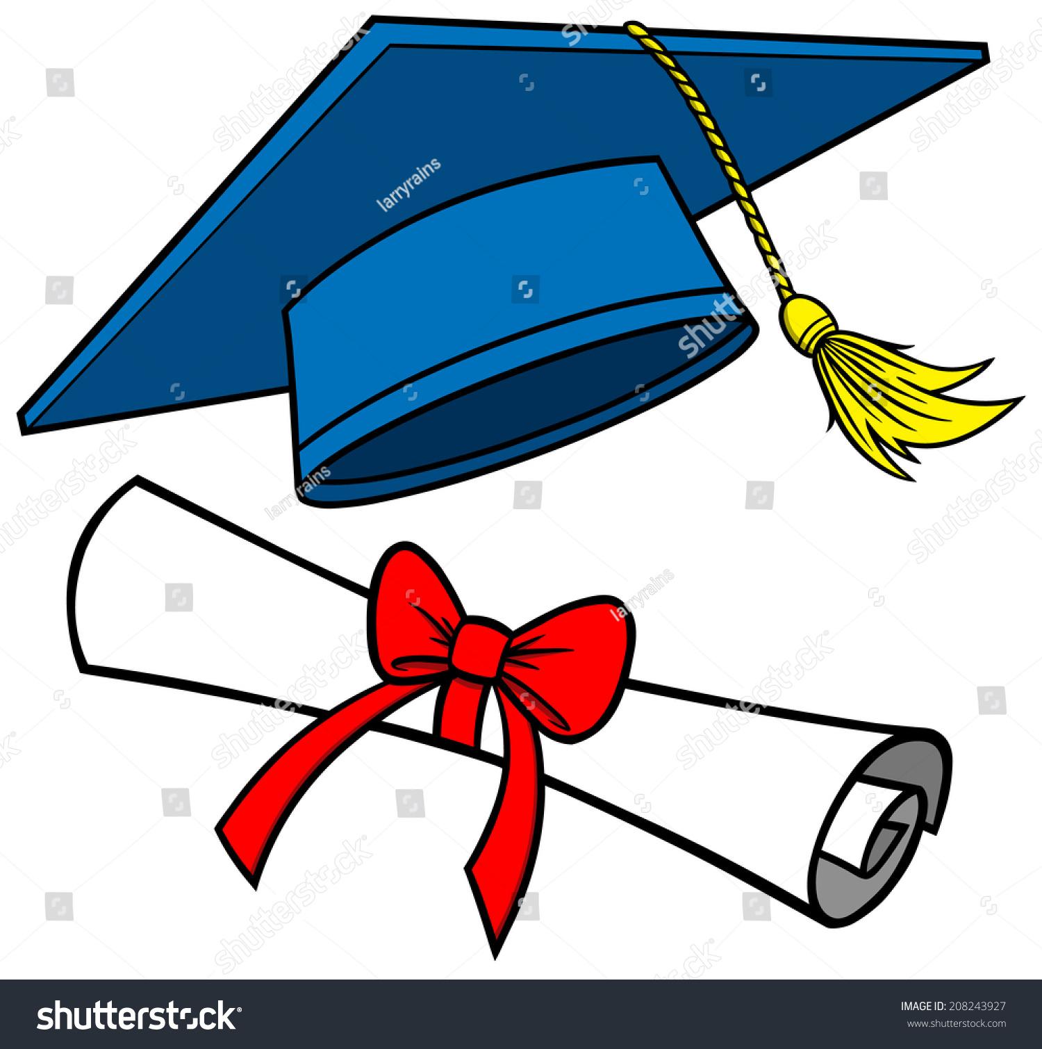 graduation cap diploma stock vector 2018 208243927 shutterstock rh shutterstock com  cap and diploma clipart