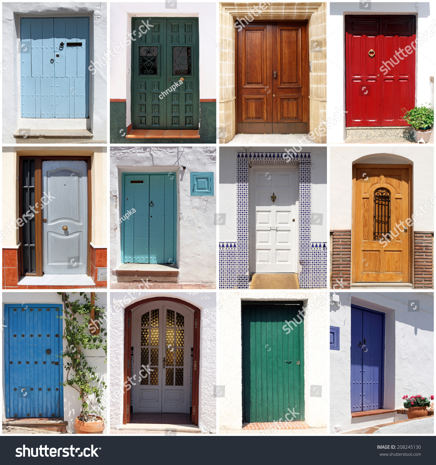Collage Colorful Spanish Front Doors Stock Photo 208245130