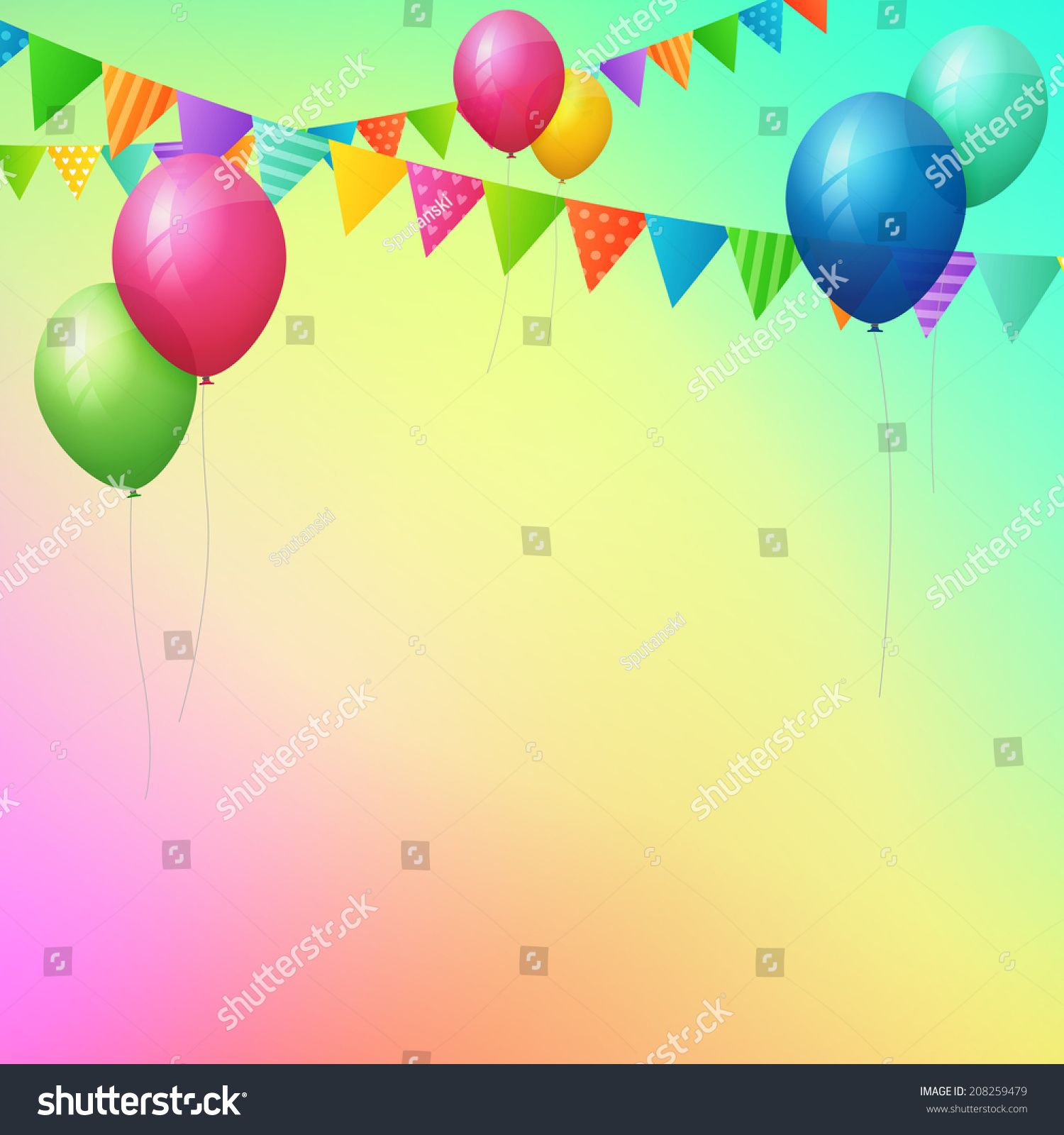 Happy Birthday Greeting Card With Colorful Balloons And Flags