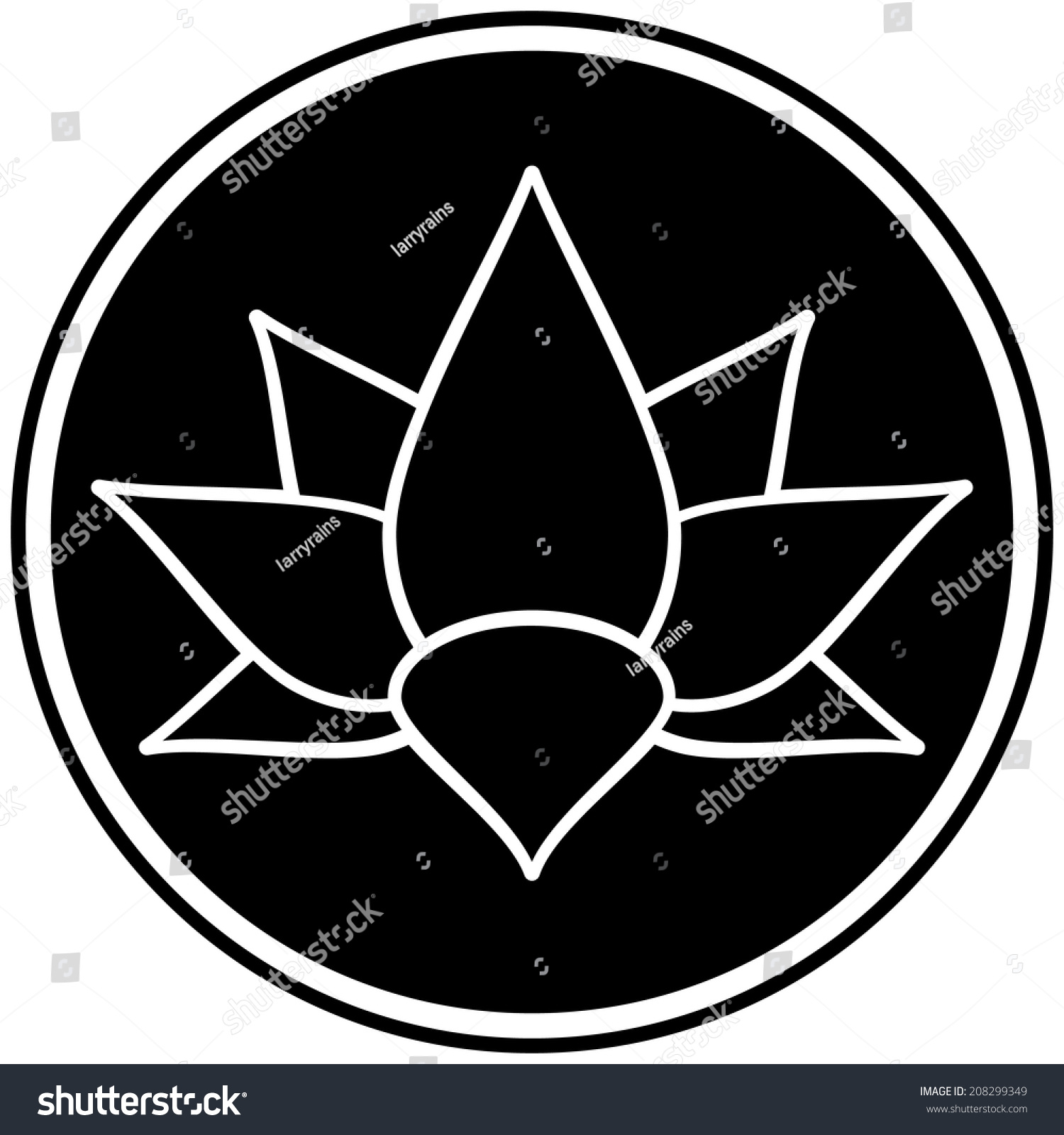 Lotus Flower Symbol Stock Vector Hd Royalty Free 208299349