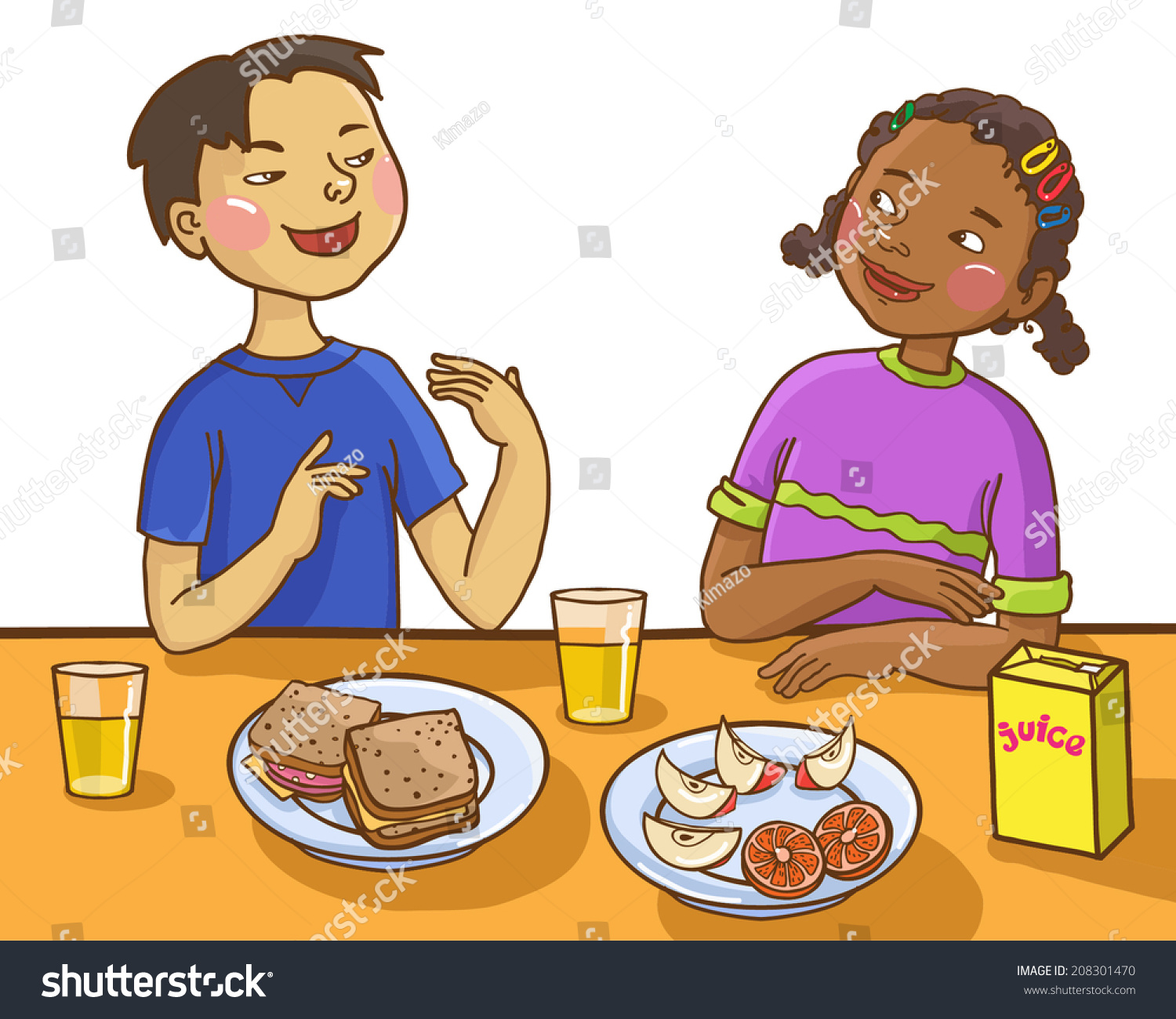 Two Kids Talking Together Lunch Table Stock Vector 208301470