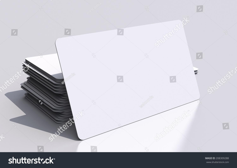 White Blank Business Cards Mockup Rounded Stock Illustration ...