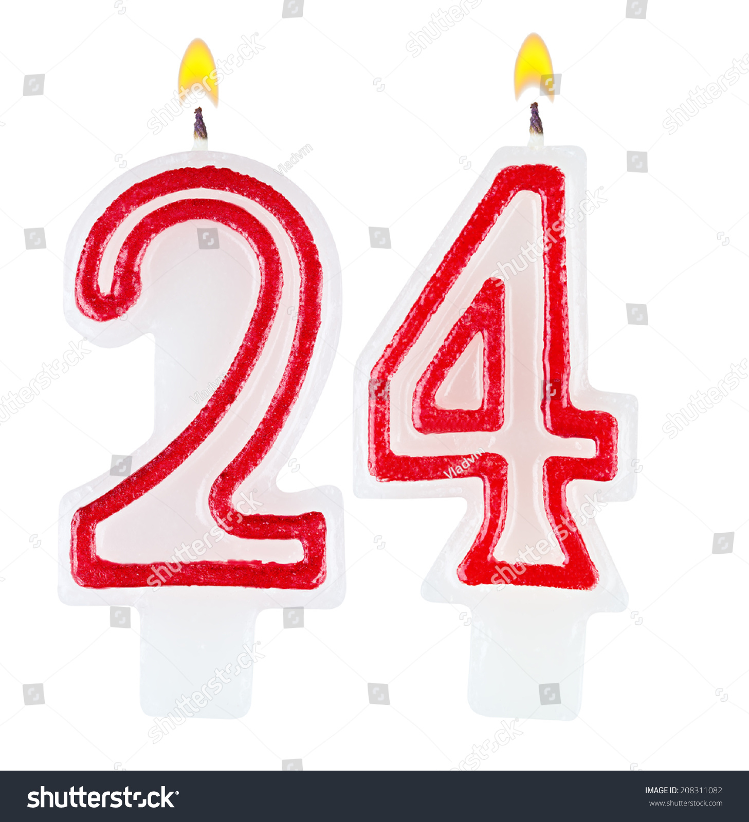 Birthday Candles Number Twenty Four Isolated Stock Photo ...