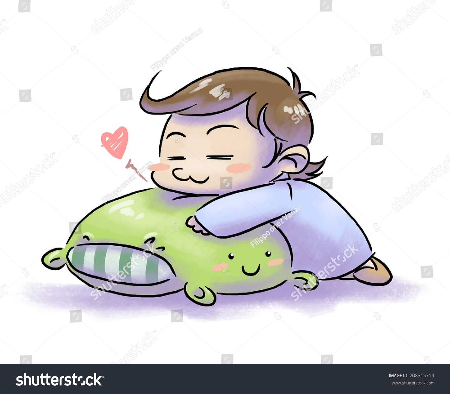 cute pillow clipart. cute happy child sleeping on a pillow with face - white background clipart