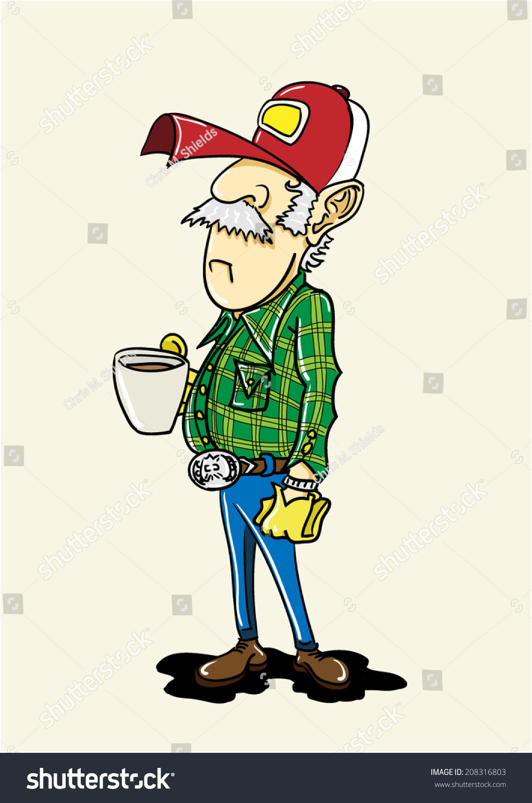 Old Truck Driver Drinking His Coffee. Stock Vector ...