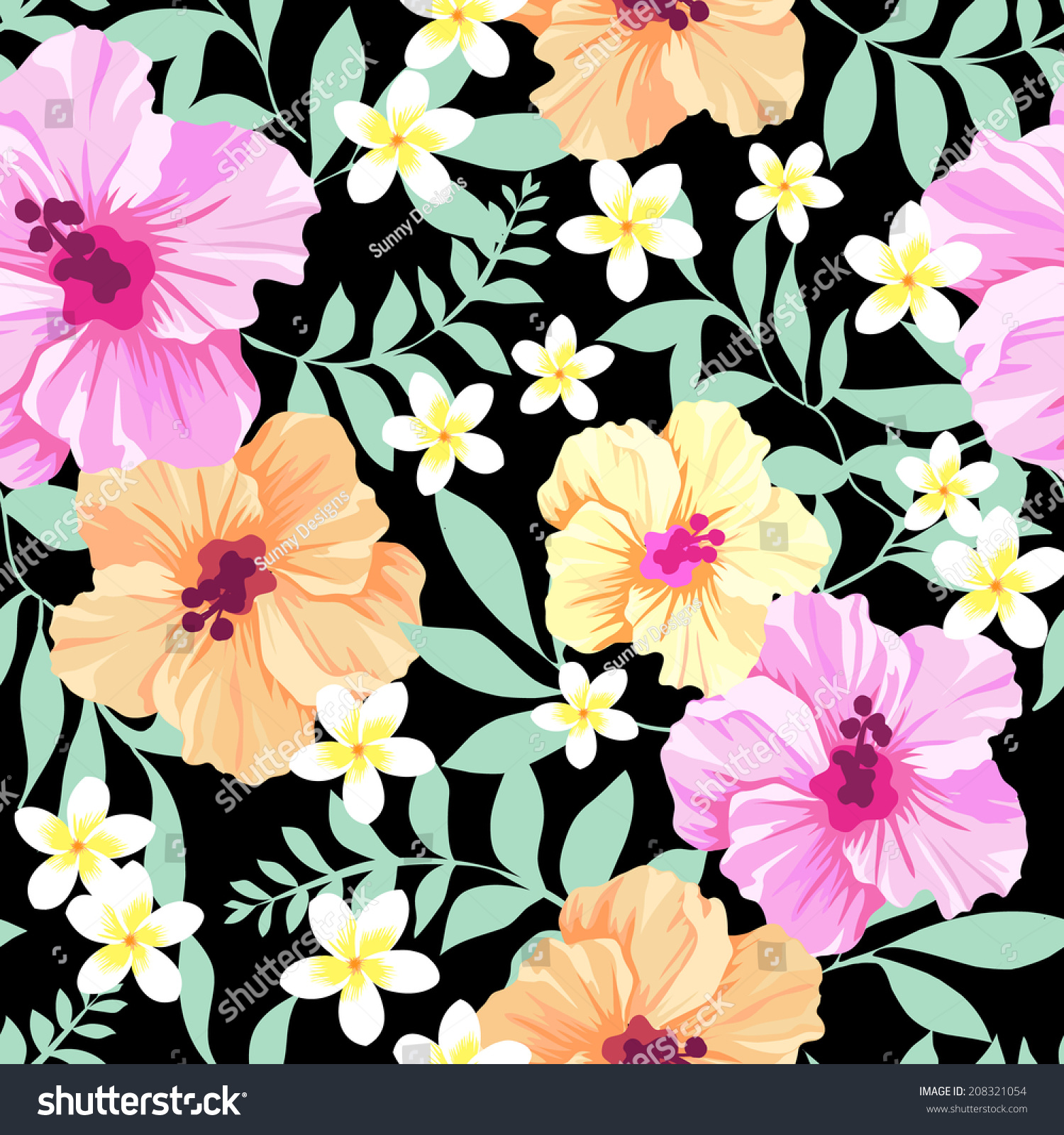 Pretty hibiscus flowers seamless vector background stock vector pretty hibiscus flowers seamless vector background izmirmasajfo